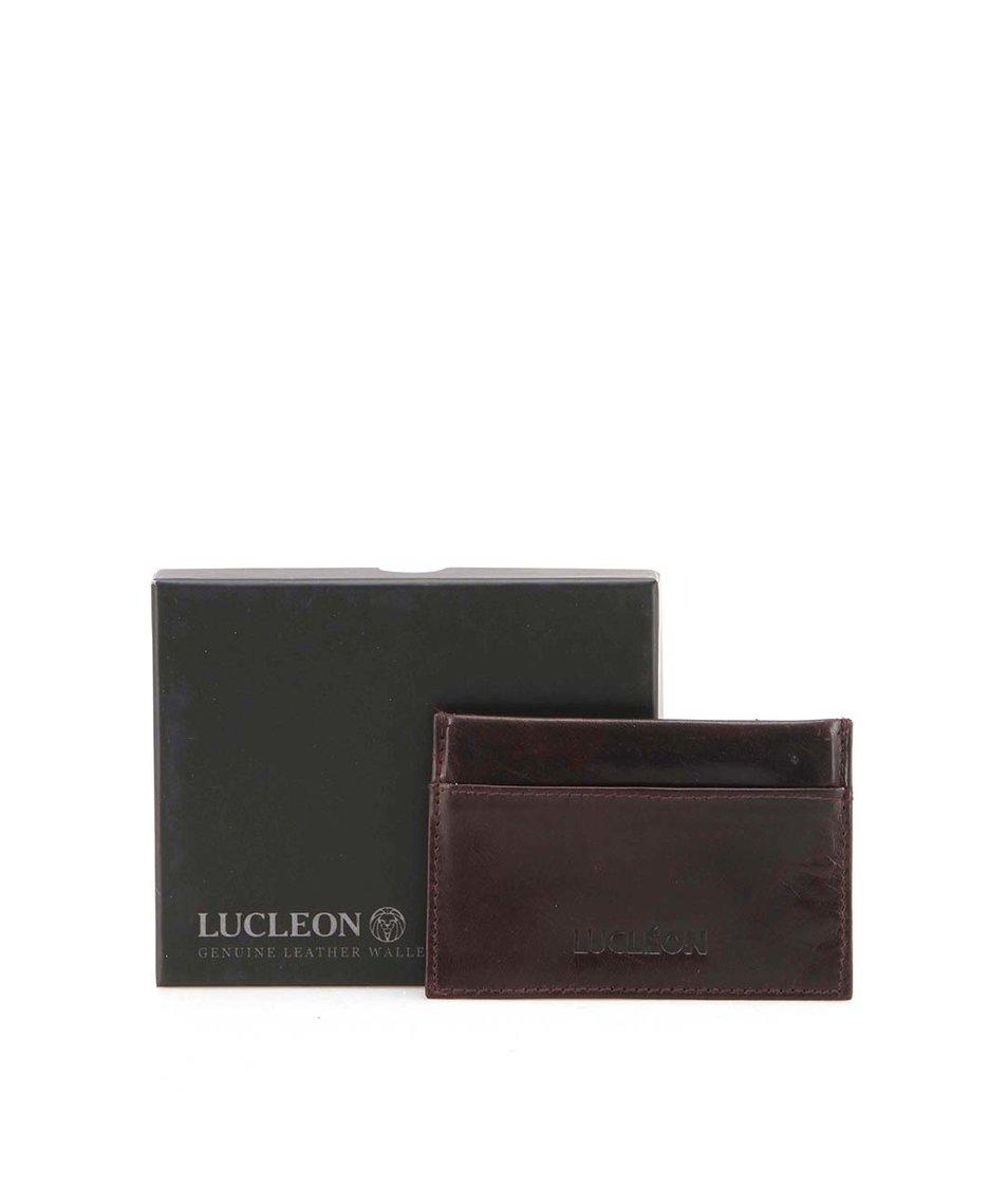 Tmavě hnědý kožený vizitkář Lucleon Lumber