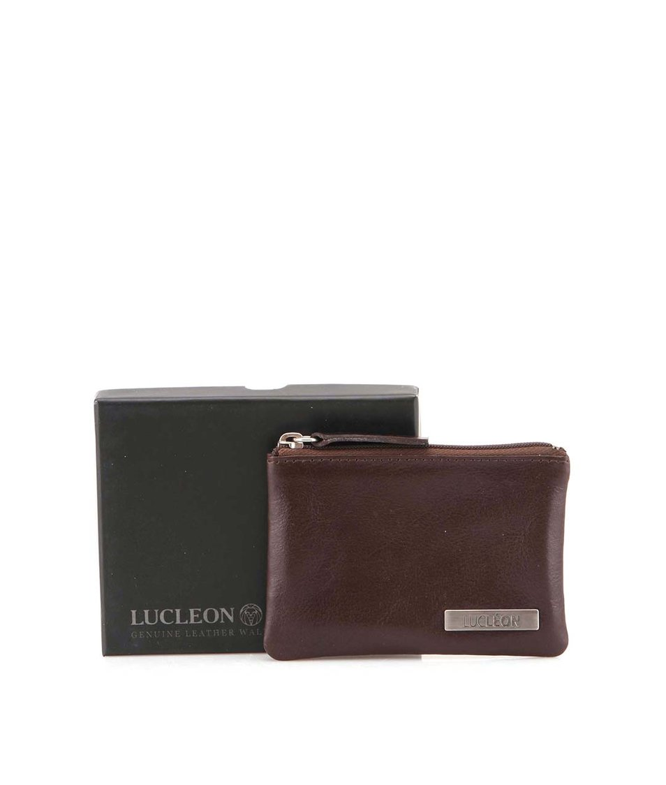Hnědá pánská kožená peněženka na mince Lucleon Pouch