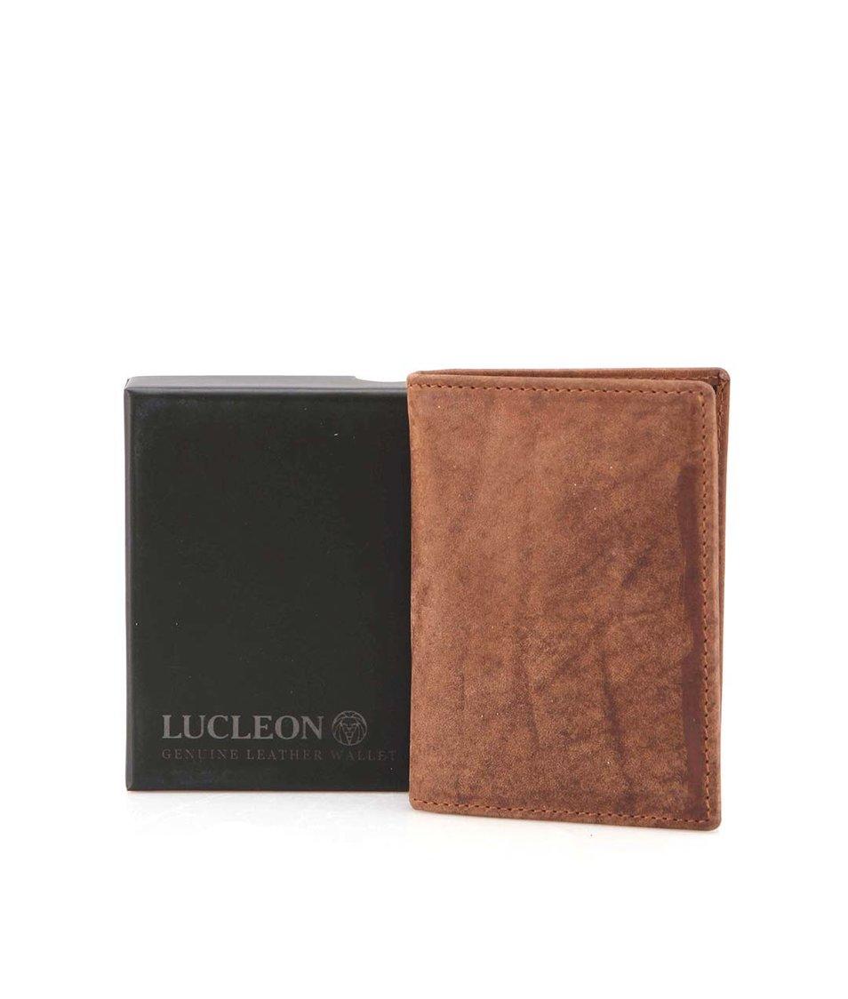 Hnědá pánská menší kožená peněženka Lucleon