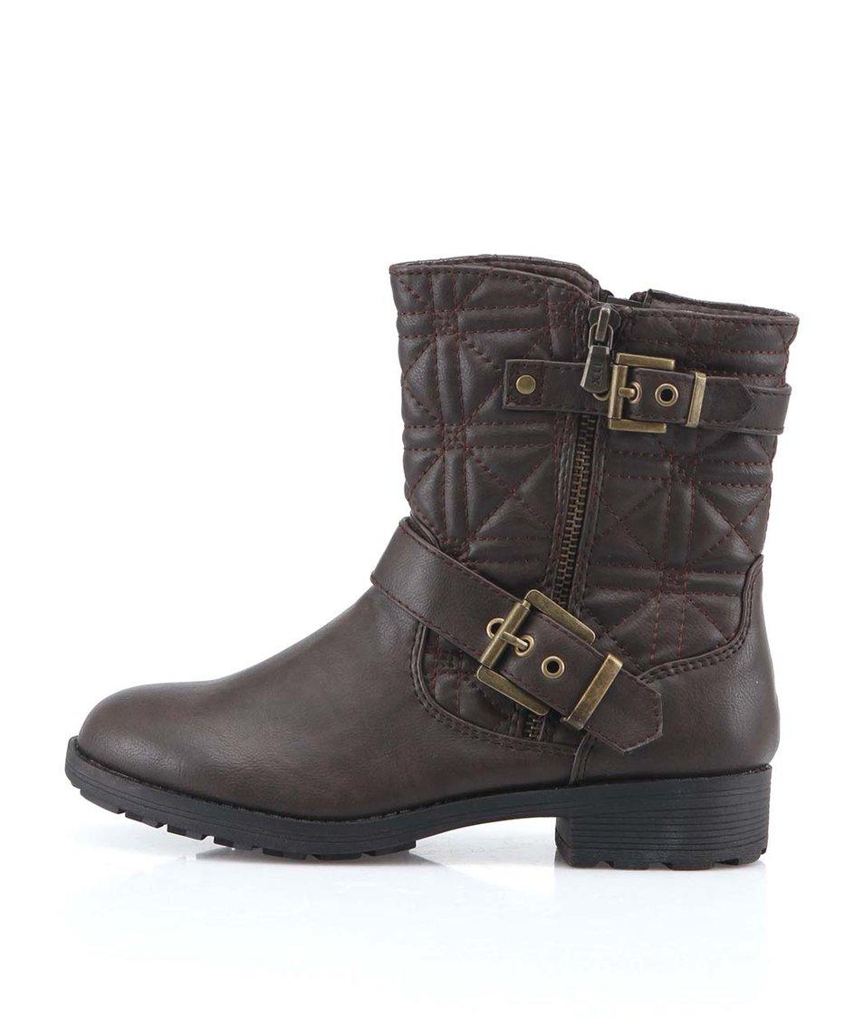 Tmavě hnědé kotníkové boty s přezkou Xti
