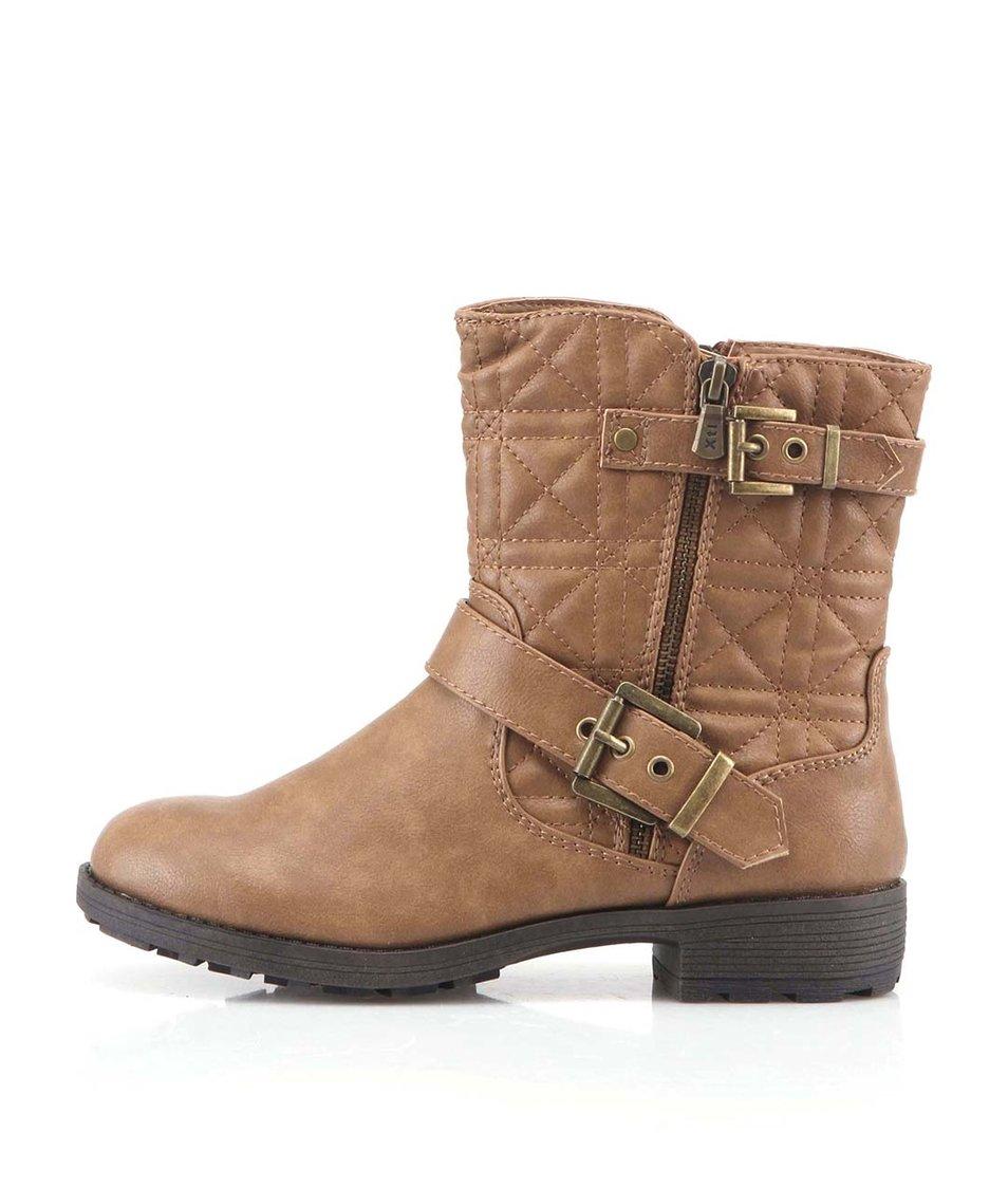Hnědé kotníkové boty s přezkou Xti