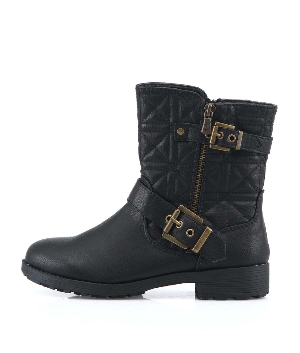 Černé kotníkové boty s přezkou Xti
