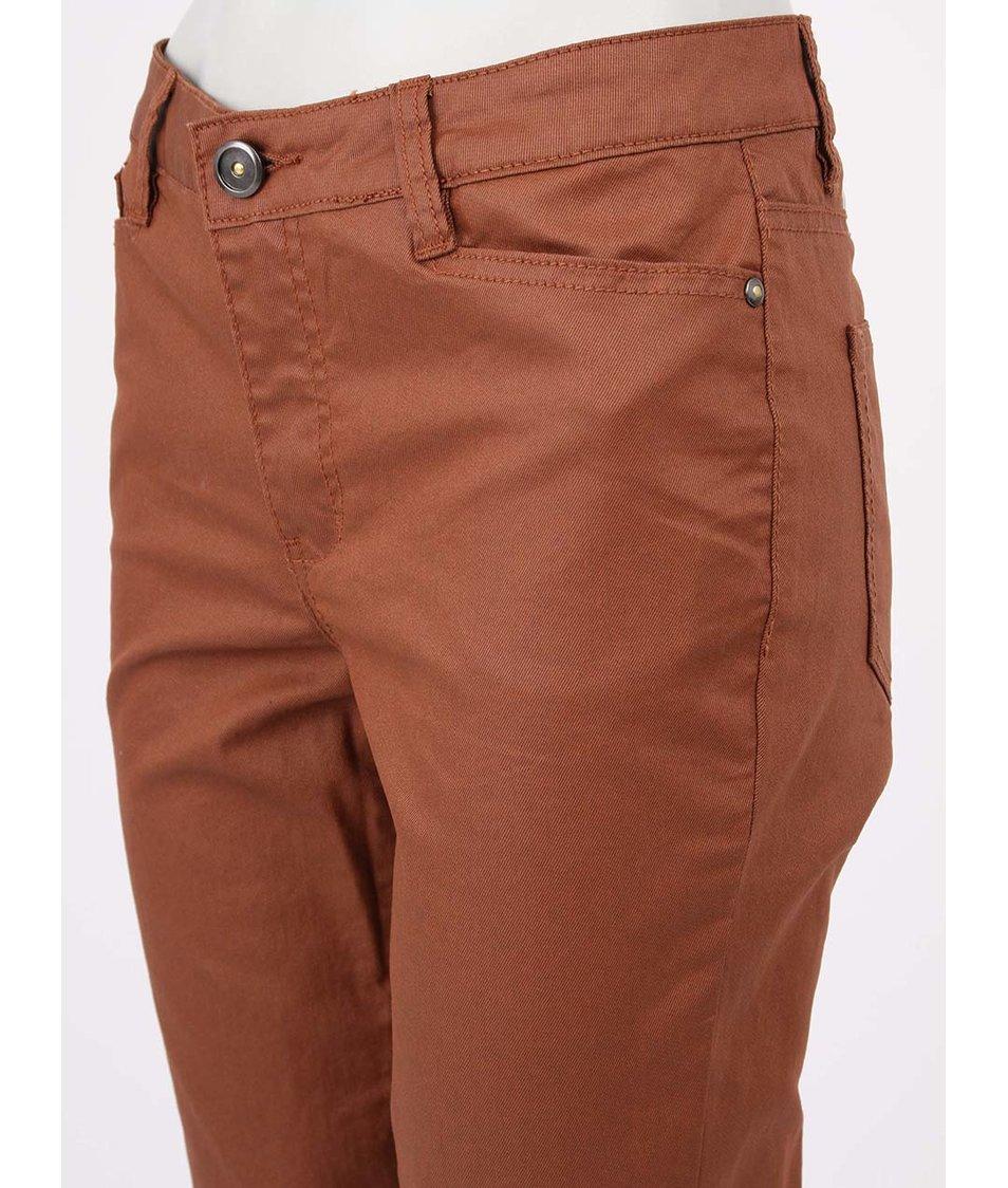 Hnědé kalhoty s koženkovým efektem Vero Moda Wonder