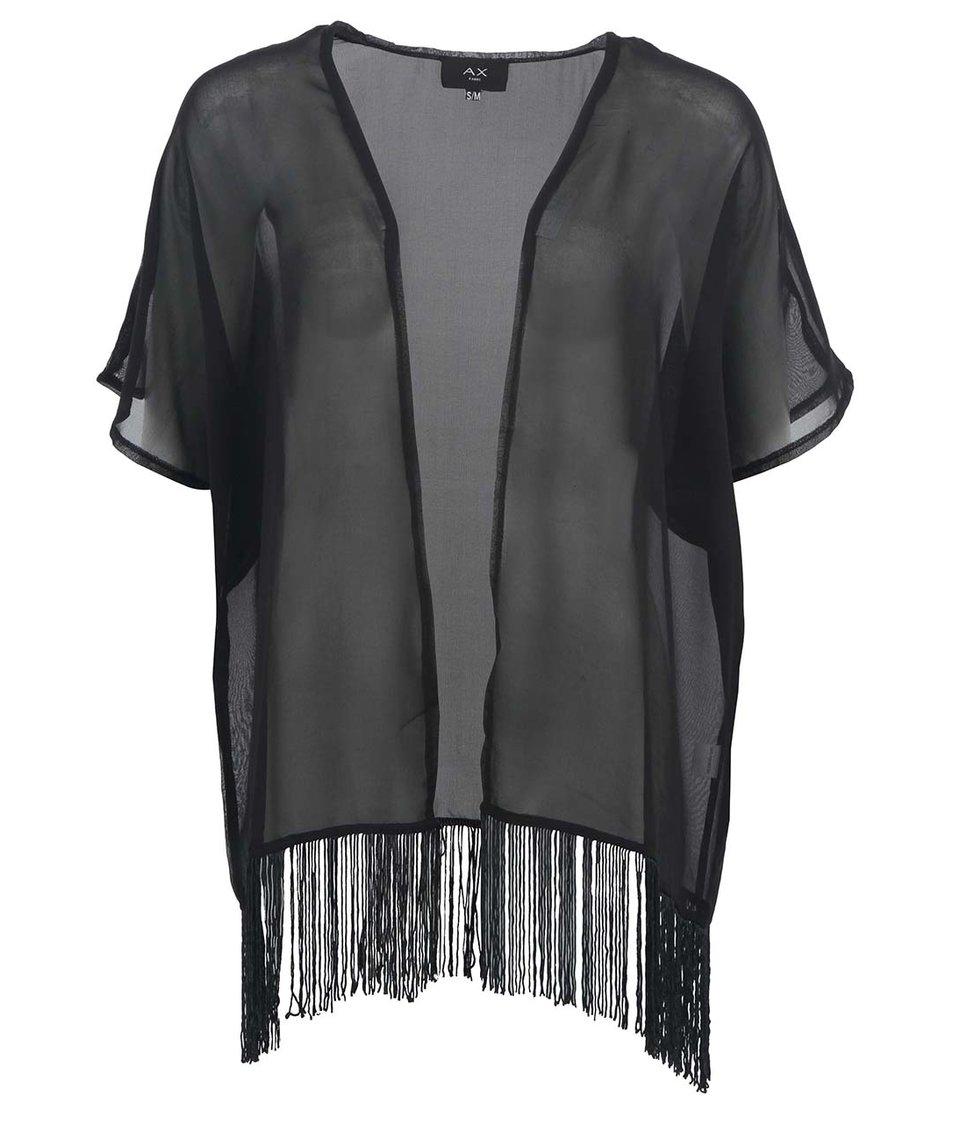 Černé kimono s třásněmi AX Paris
