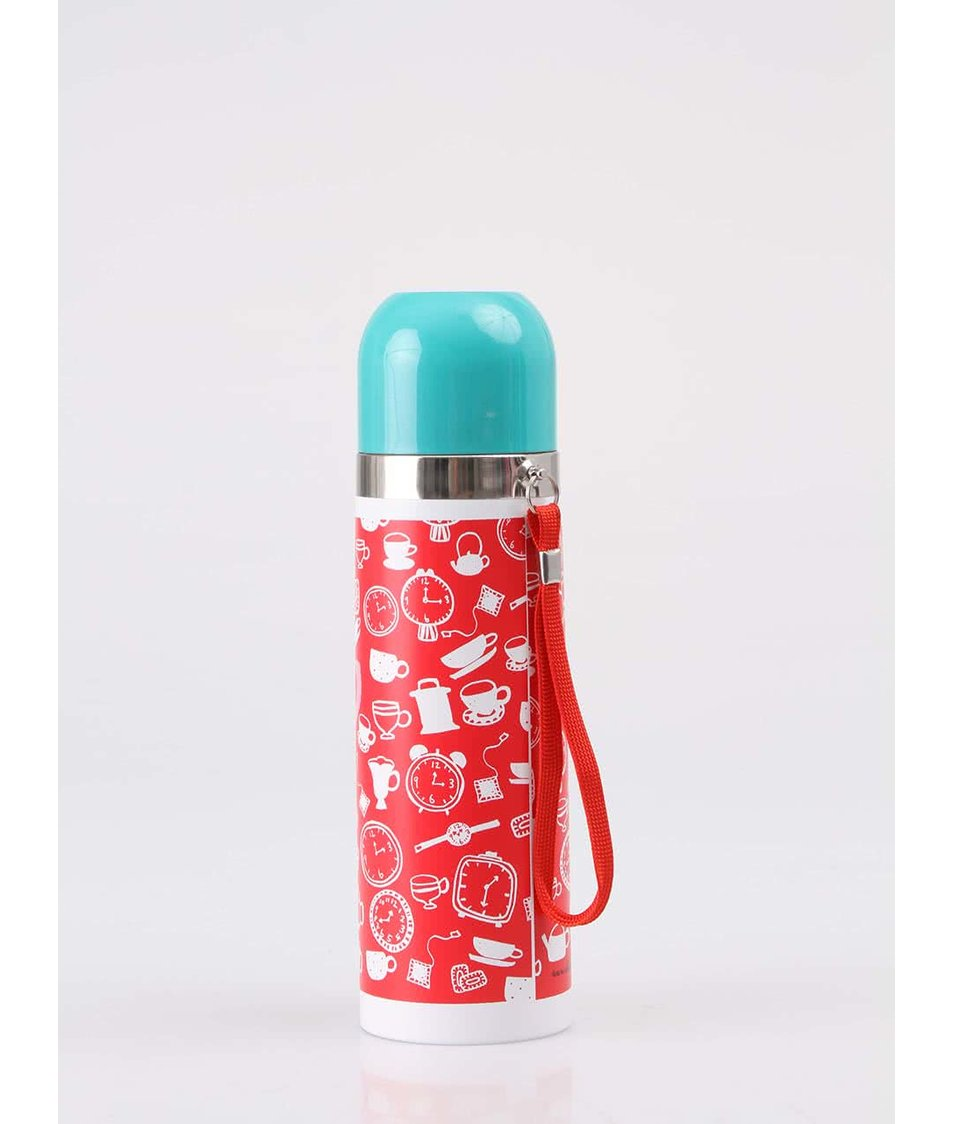 Červená termoska s šálkem a obrázky Disaster Daydream