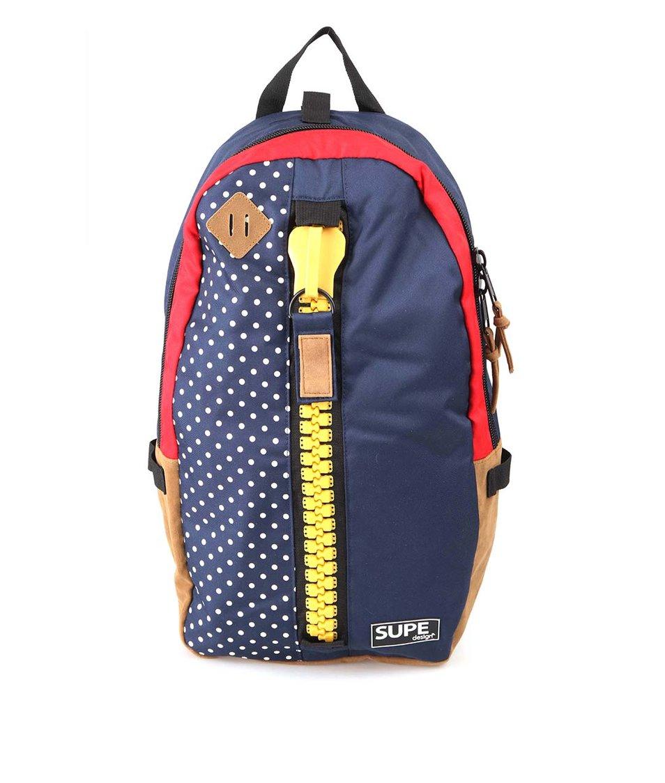 Modrý puntíkovaný batoh SUPE design