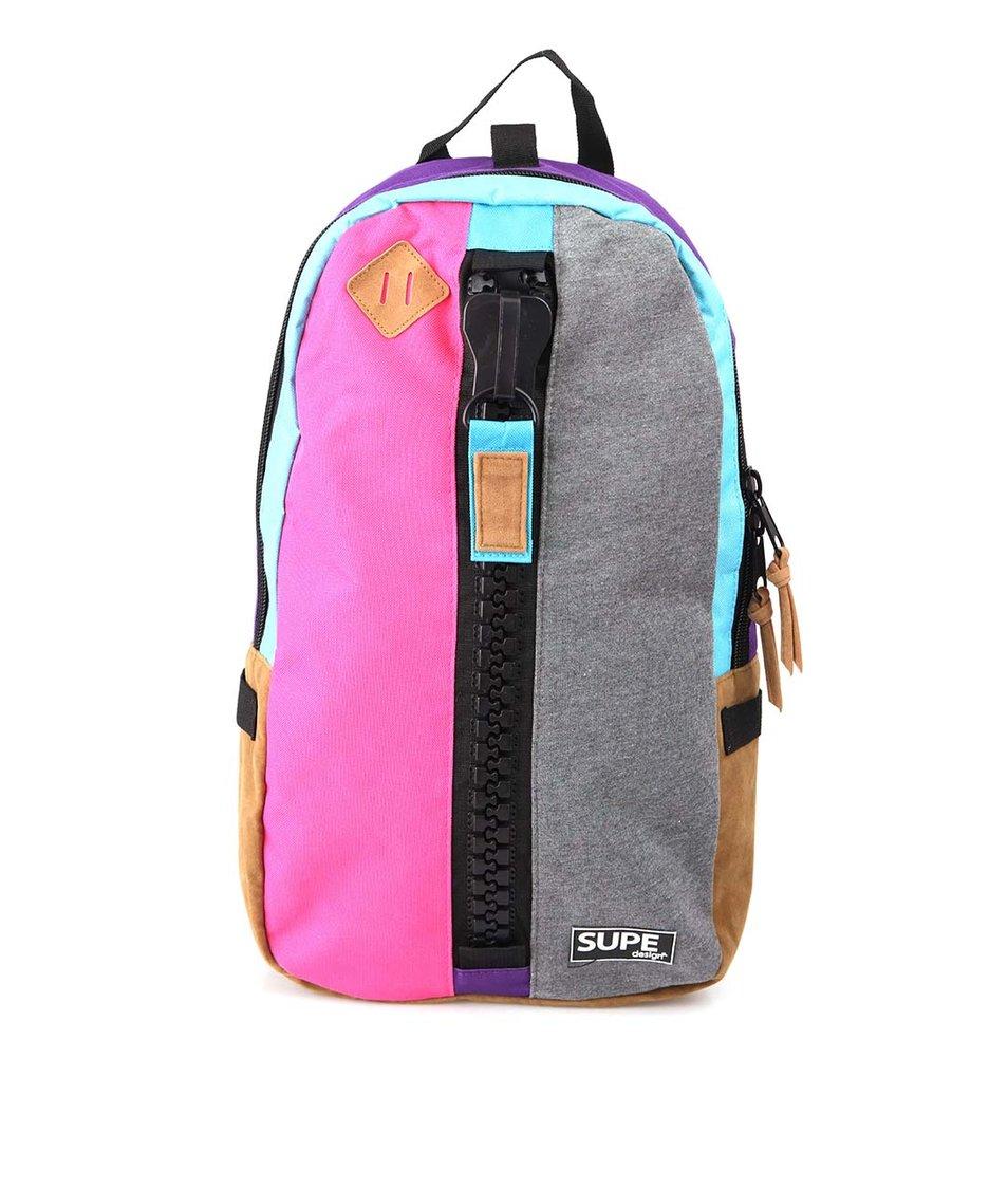 Šedo-růžový batoh SUPE design
