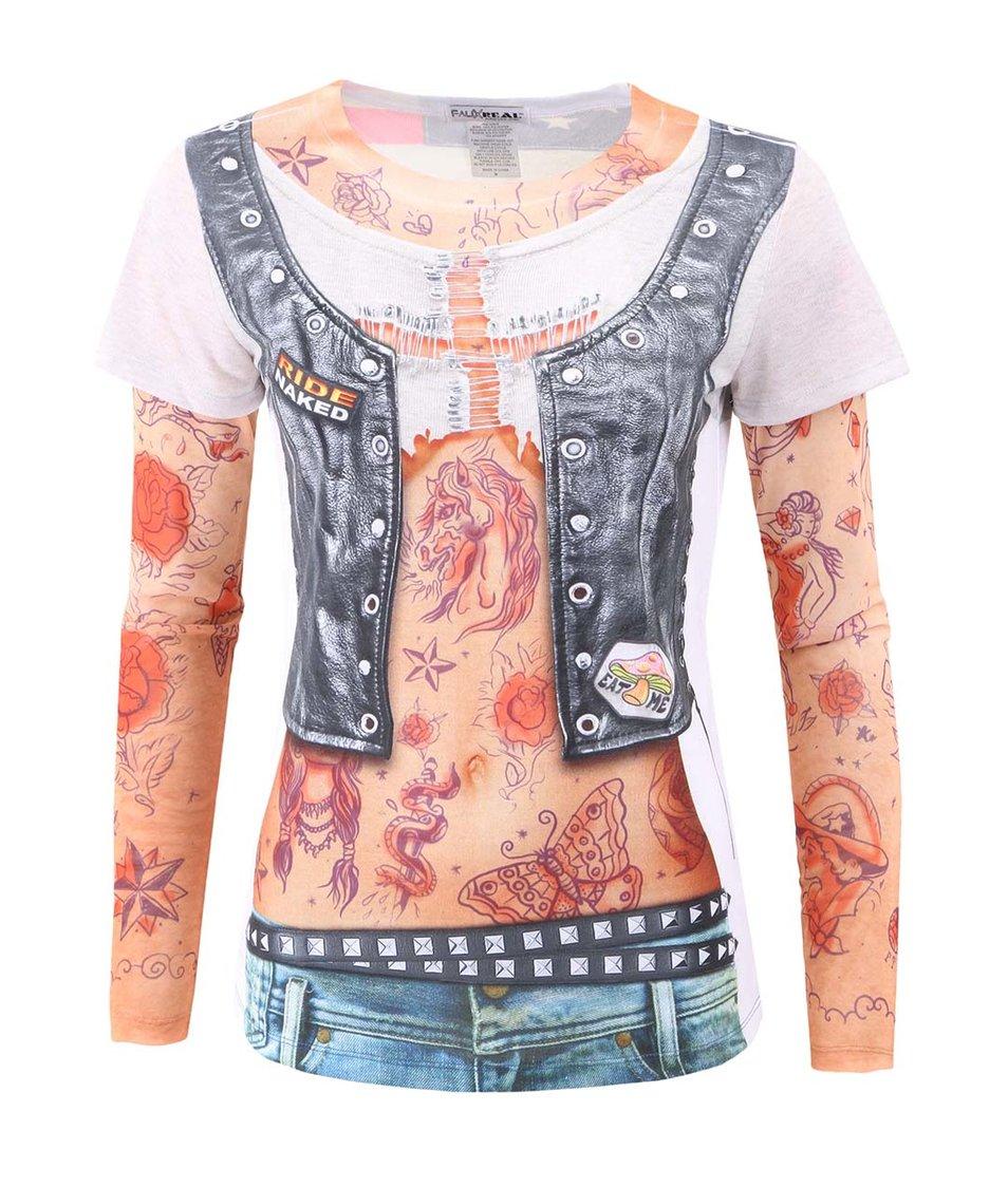 Dámské tričko s potiskem Faux Real Tattoo