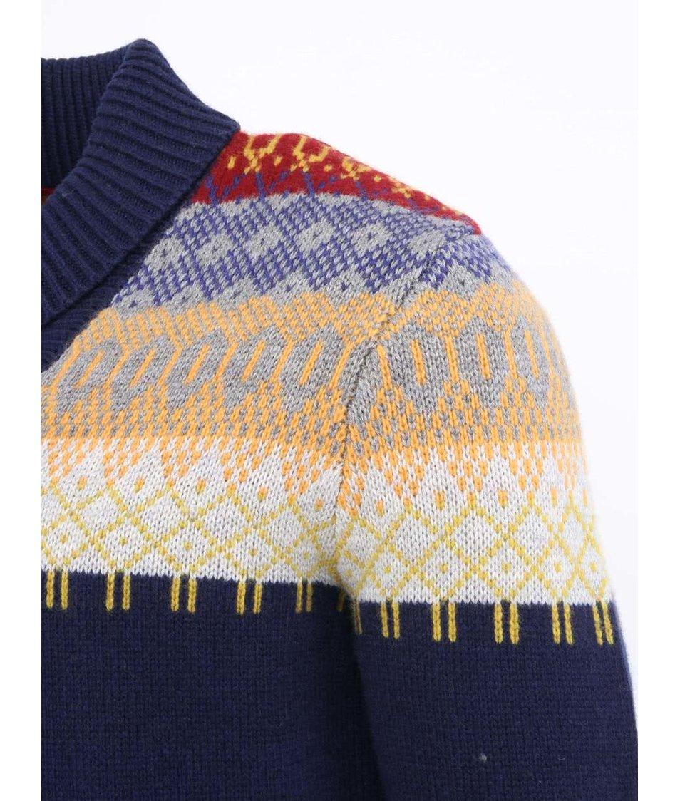 646f01e8a8e Vlněný modrý pánský svetr se vzory Levi s® - SLEVA!