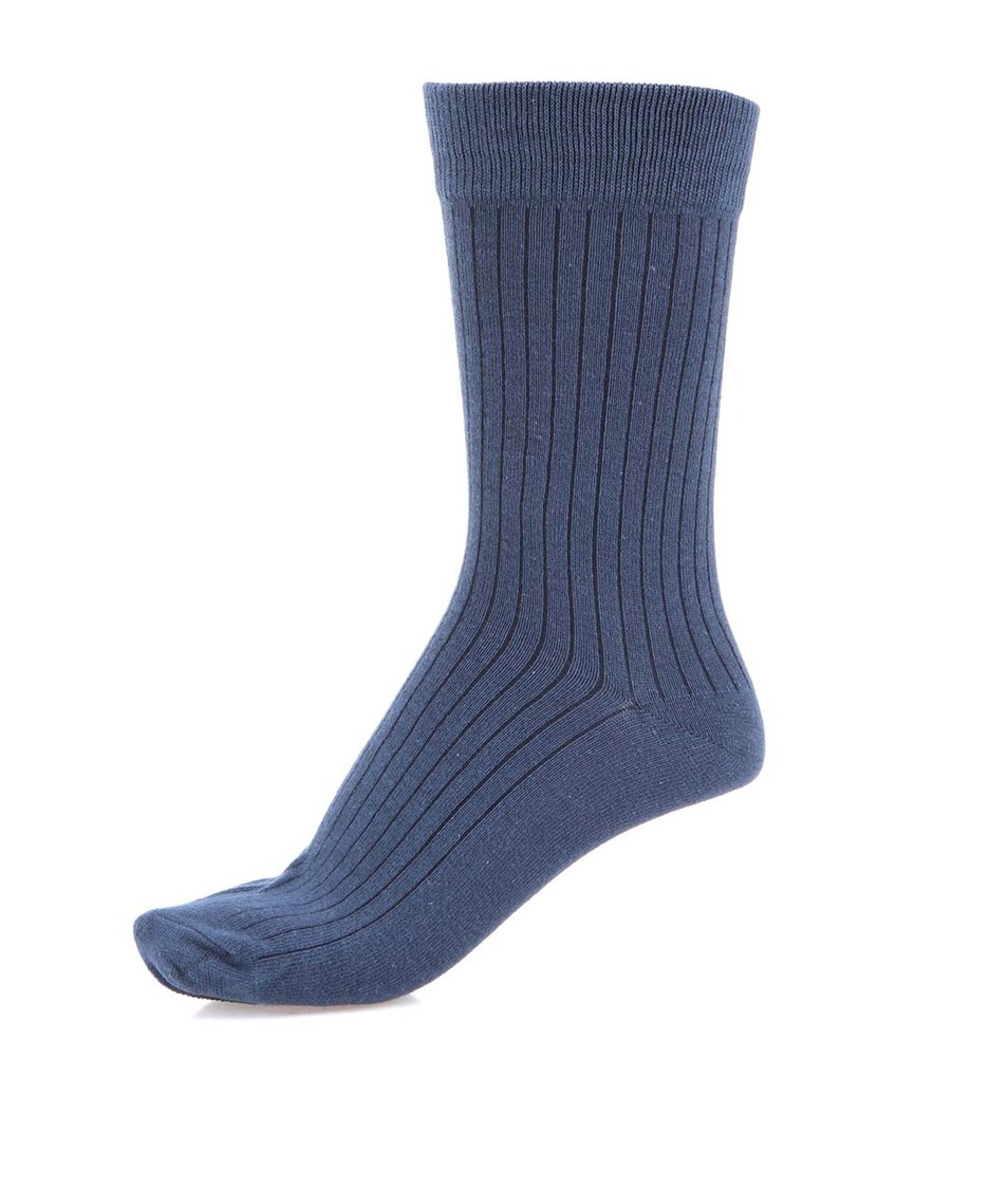 Tmavě modré ponožky s žebrováním Selected Sanaka