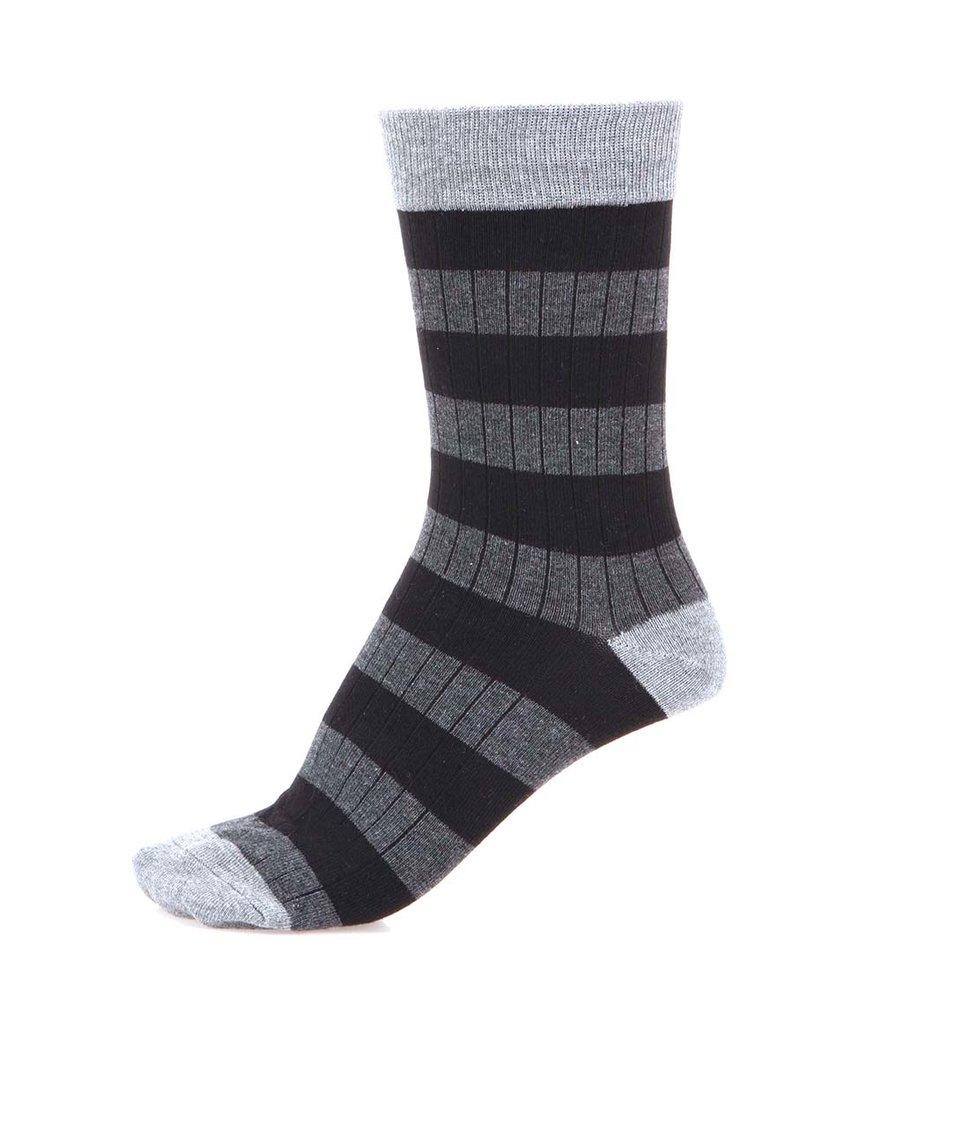 Šedo-černé pruhované ponožky Selected Jemel