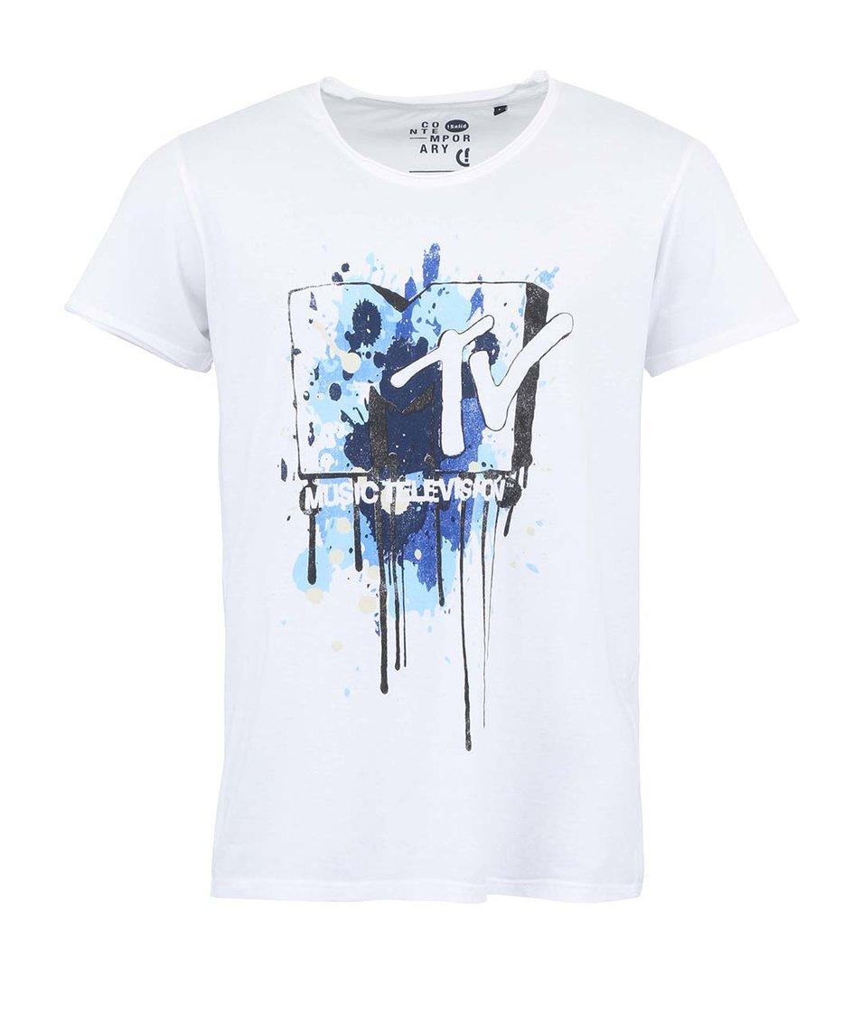 Bílé triko s potiskem MTV !Solid Joel