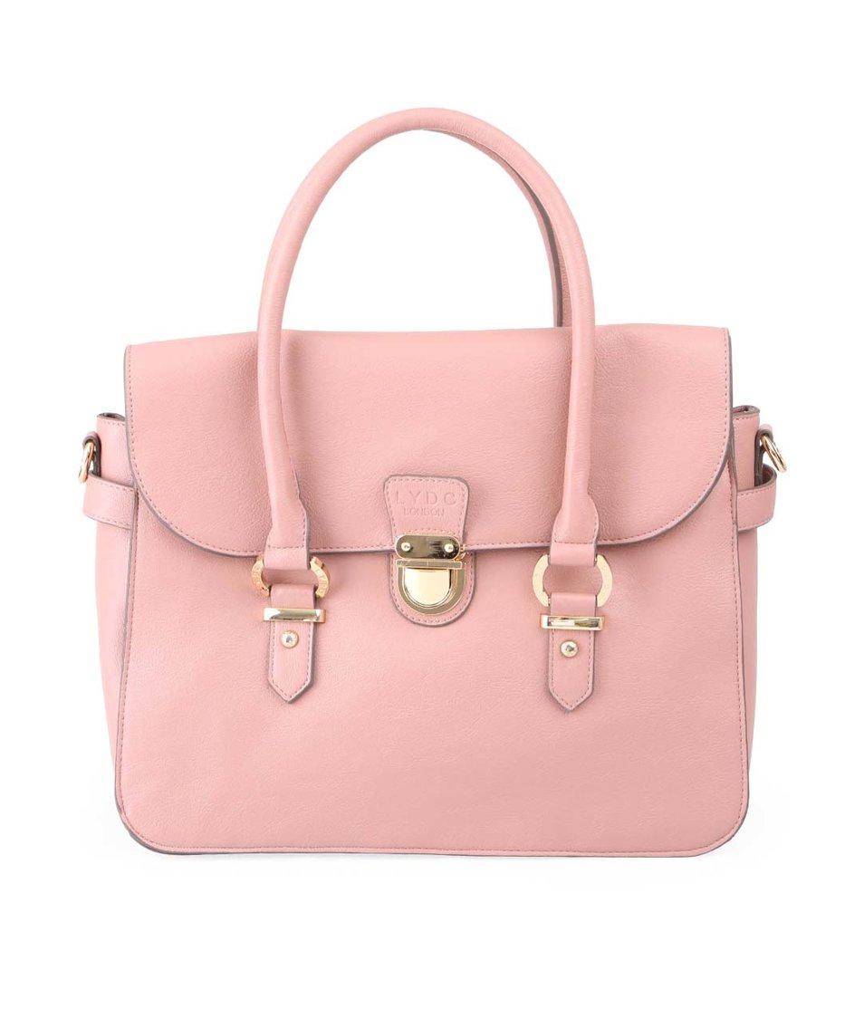 Růžová kabelka s přezkou ve zlaté barvě LYDC