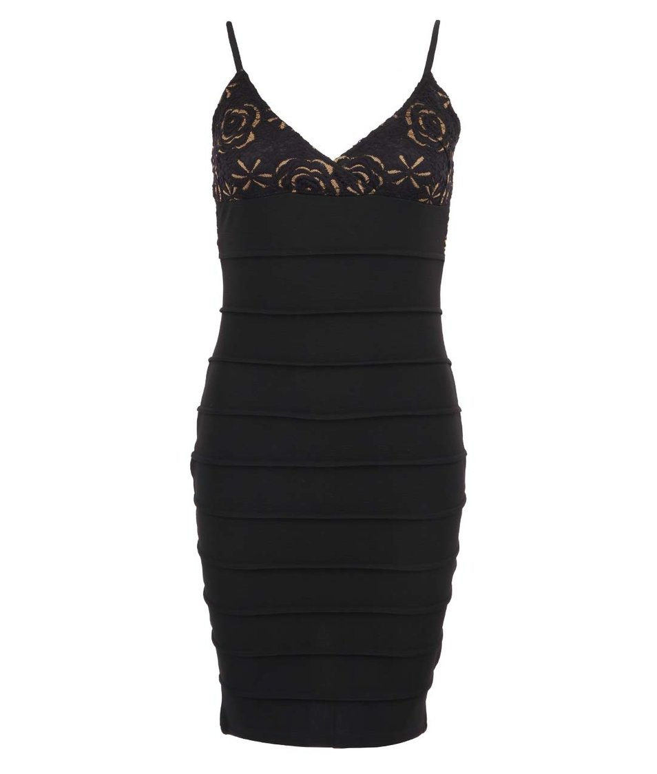 Černé upnuté šaty s tenkými ramínky AX Paris