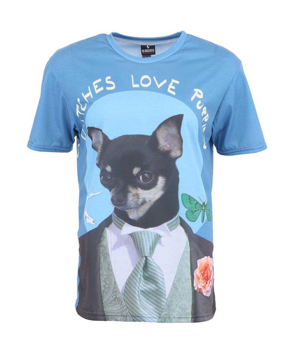 Modré unisex triko s krysaříkem Mr. Gugu & Miss Go