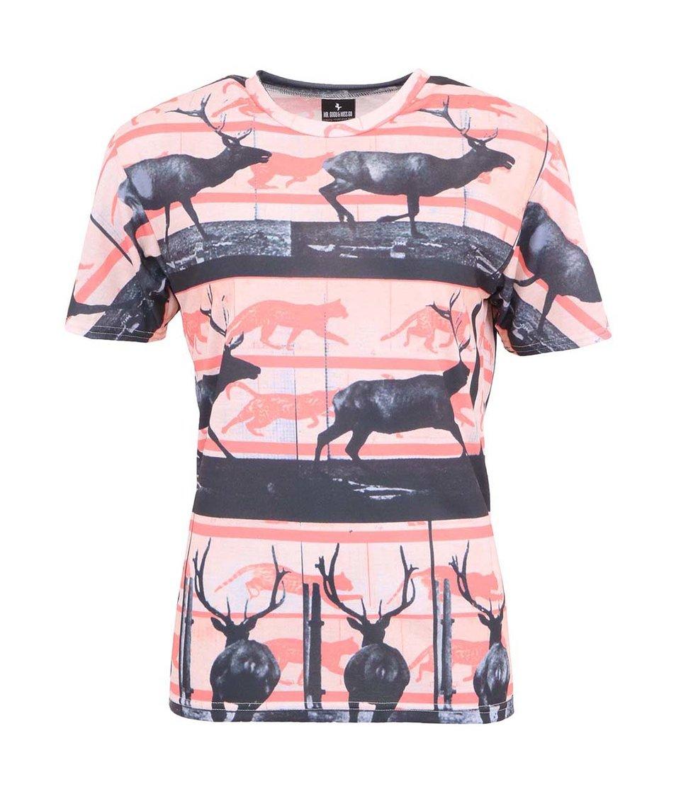 Černo-korálové unisex triko s jeleny a pumami Mr. Gugu & Miss Go