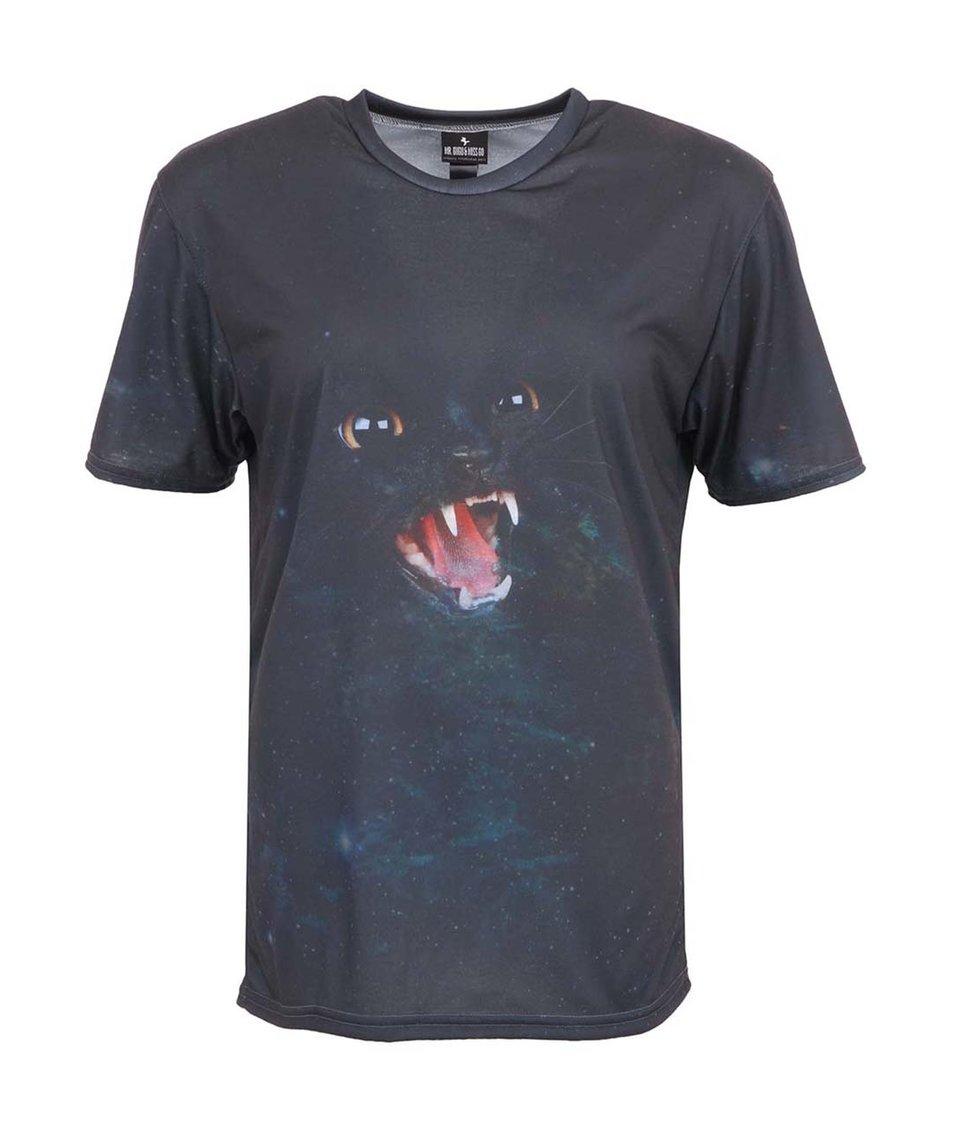 Černé unisex triko s kočkou Mr. Gugu & Miss Go