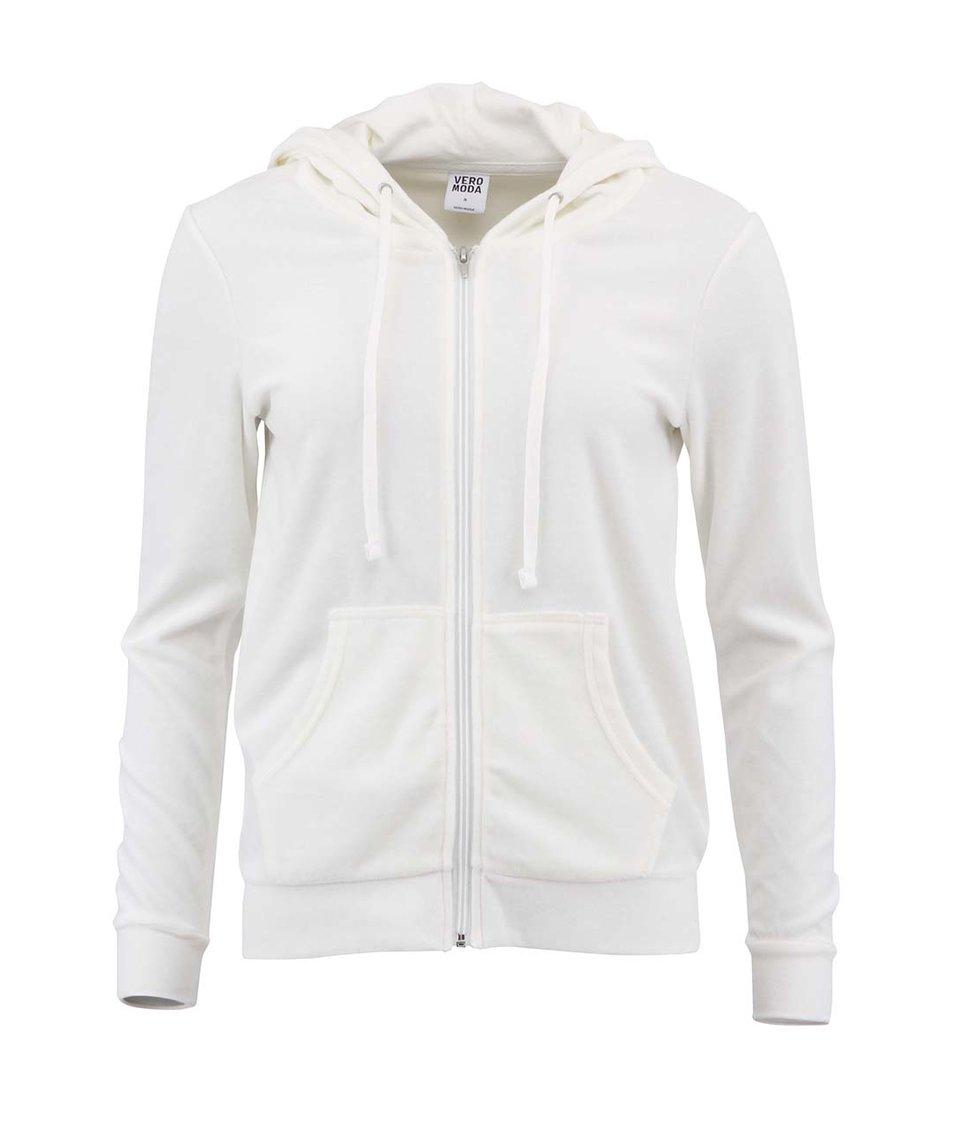 Bílá sametová mikina Vero Moda Suvi