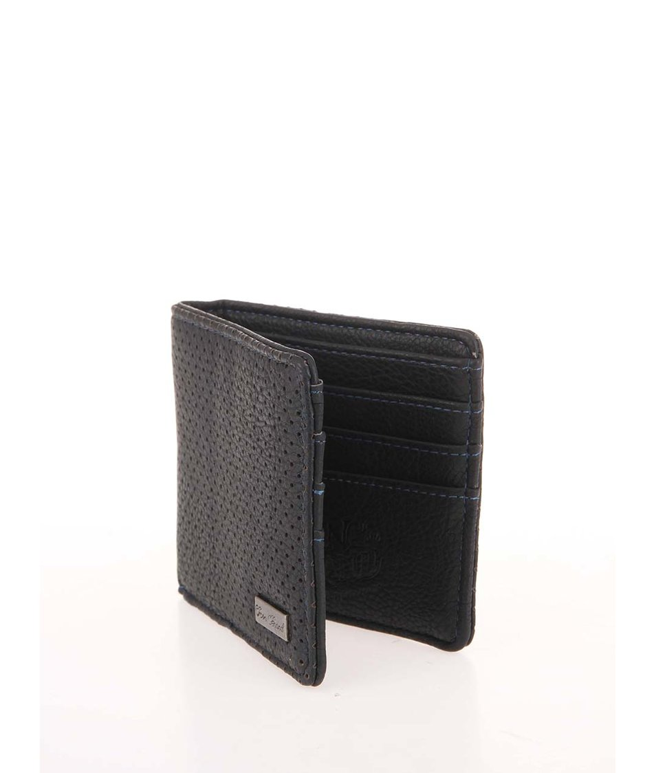 Černá koženková perforovaná peněženka Icon Brand