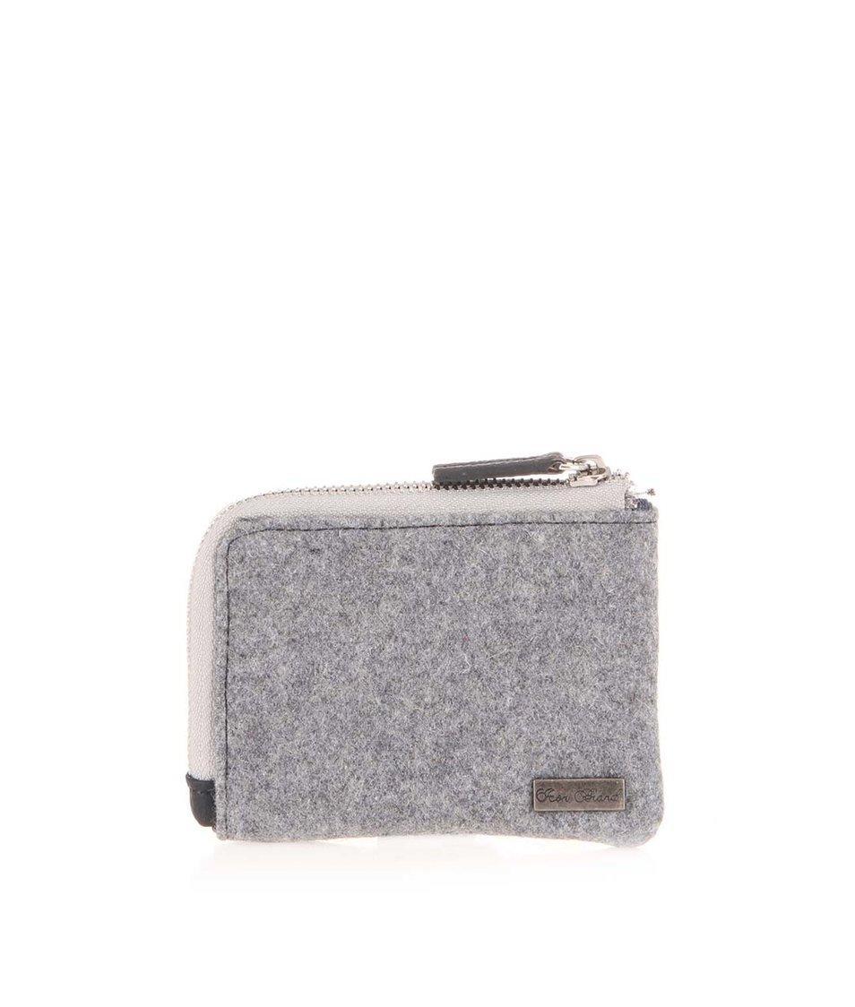 Šedá peněženka na zip Icon Brand