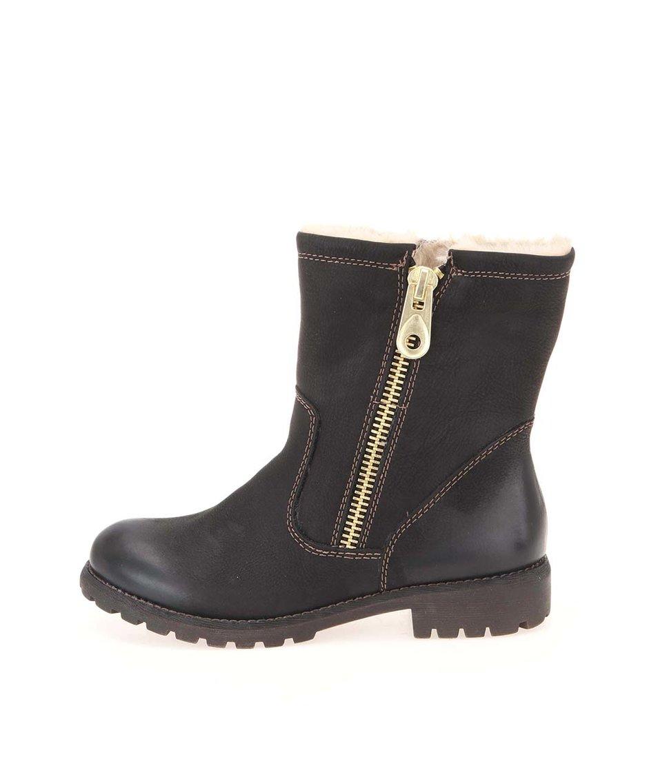 Černé kožené vyšší kotníkové boty s ozdobným zipem Tamaris