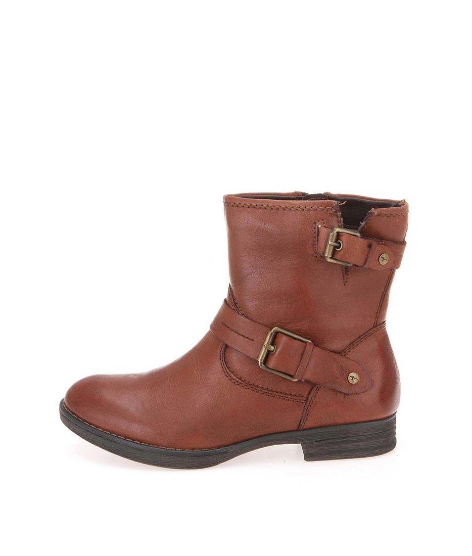 Hnědé kožené boty s přezkou Tamaris