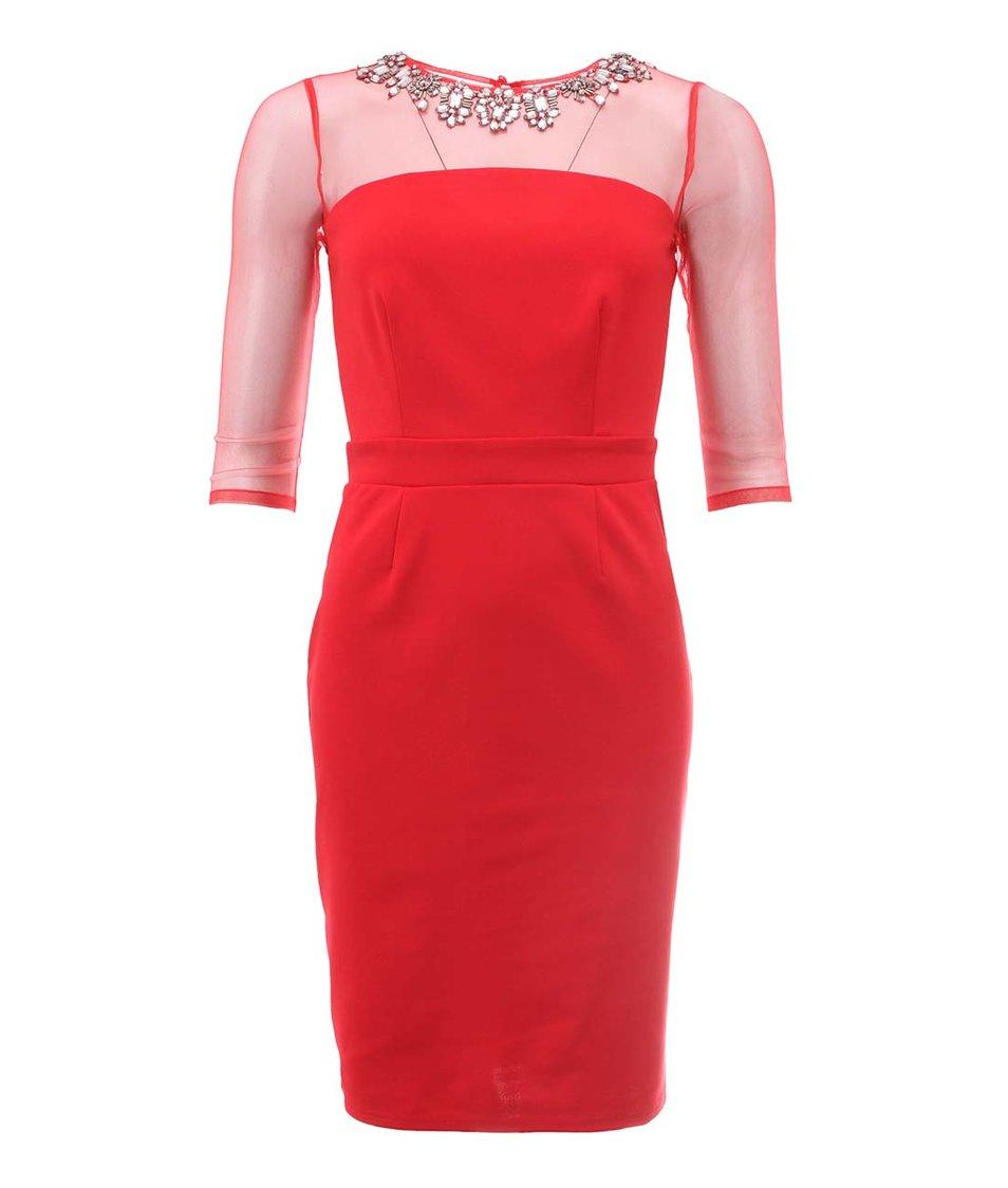 Červené šaty s náhrdelníkovou aplikací Little Mistress