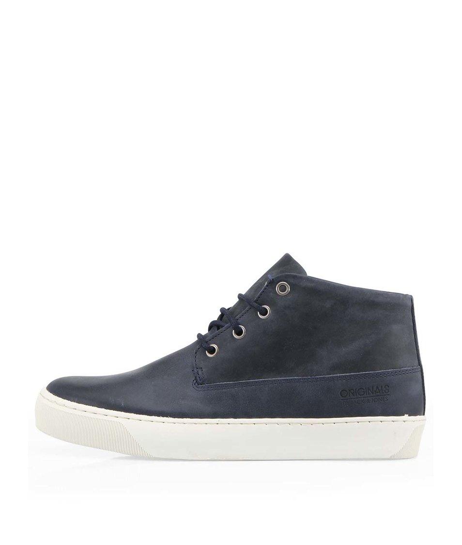 Tmavě modré kožené kotníkové boty Jack & Jones Beat