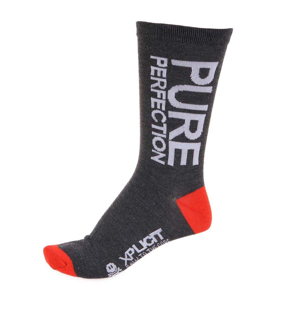 Červeno-šedé pánské bavlněné ponožky Xplicit Purefect