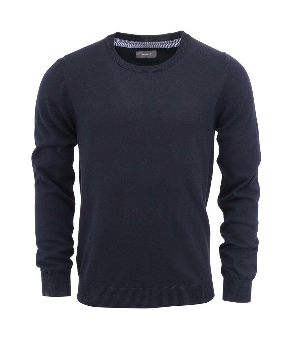 Tmavě modrý svetr se záplatami na loktech Bertoni