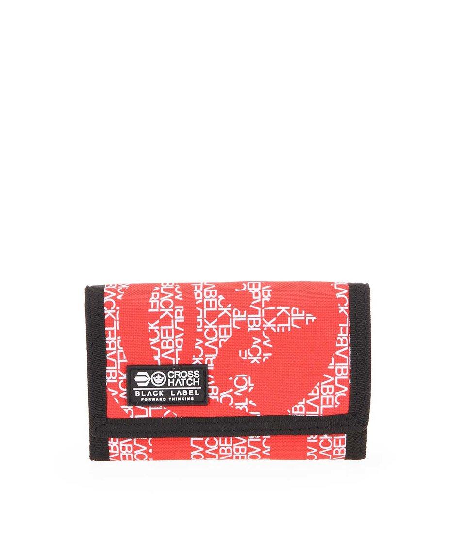 Červeno-černá pánská peněženka s nápisy Crosshatch Cachink