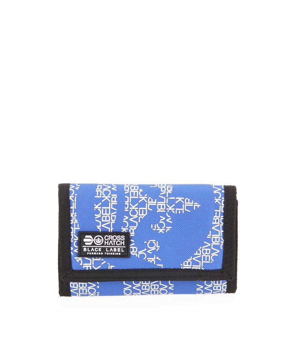 Modro-černá pánská peněženka s nápisy Crosshatch Cachink