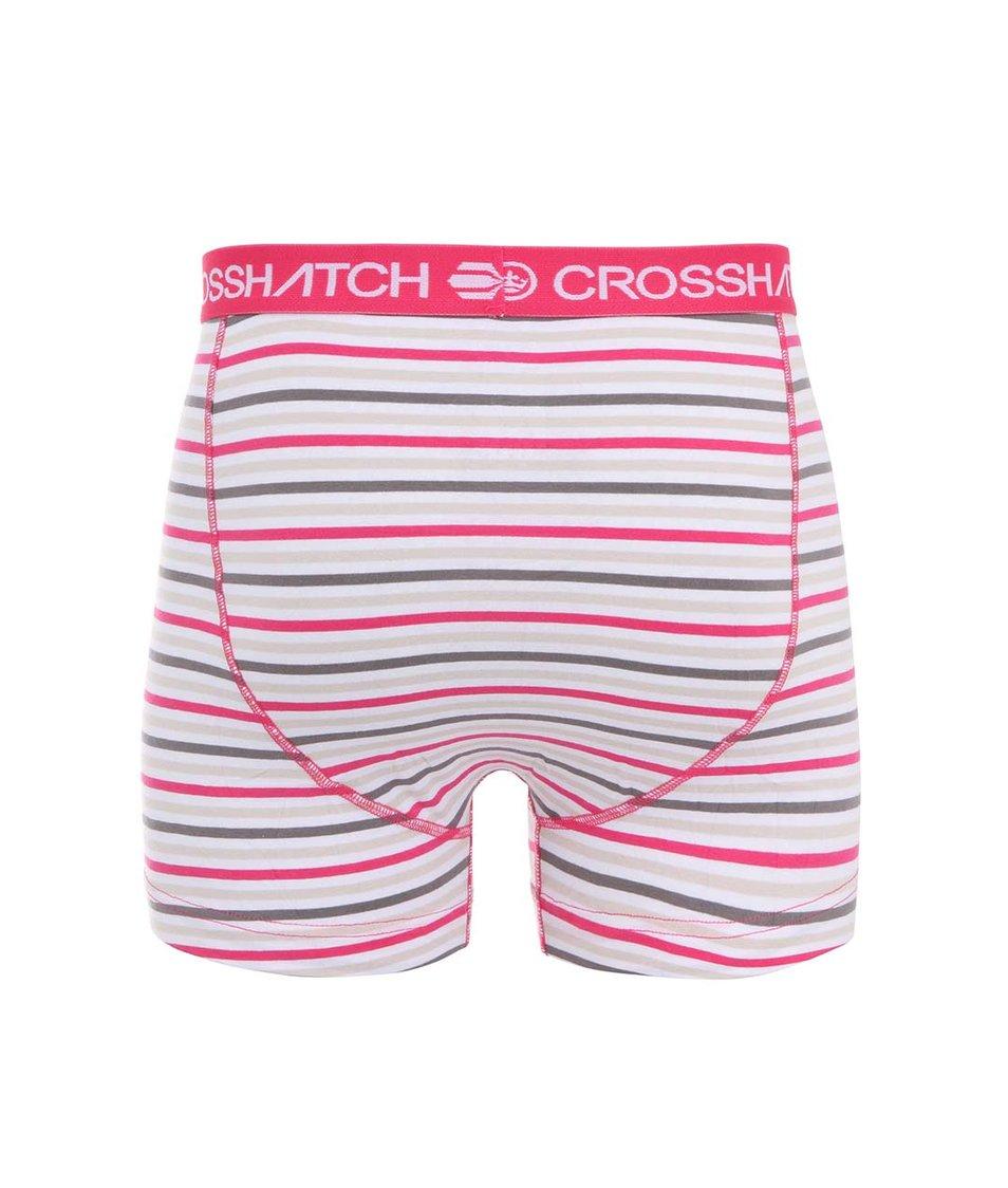 Růžovo-šedé pánské pruhované boxerky Crosshatch Plasma