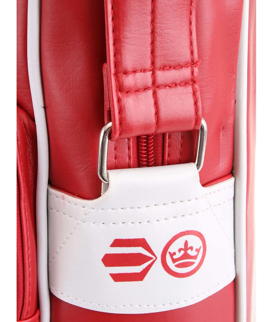 Červená pánská taška s ozdobnými bílými pruhy Crosshatch Walbrook