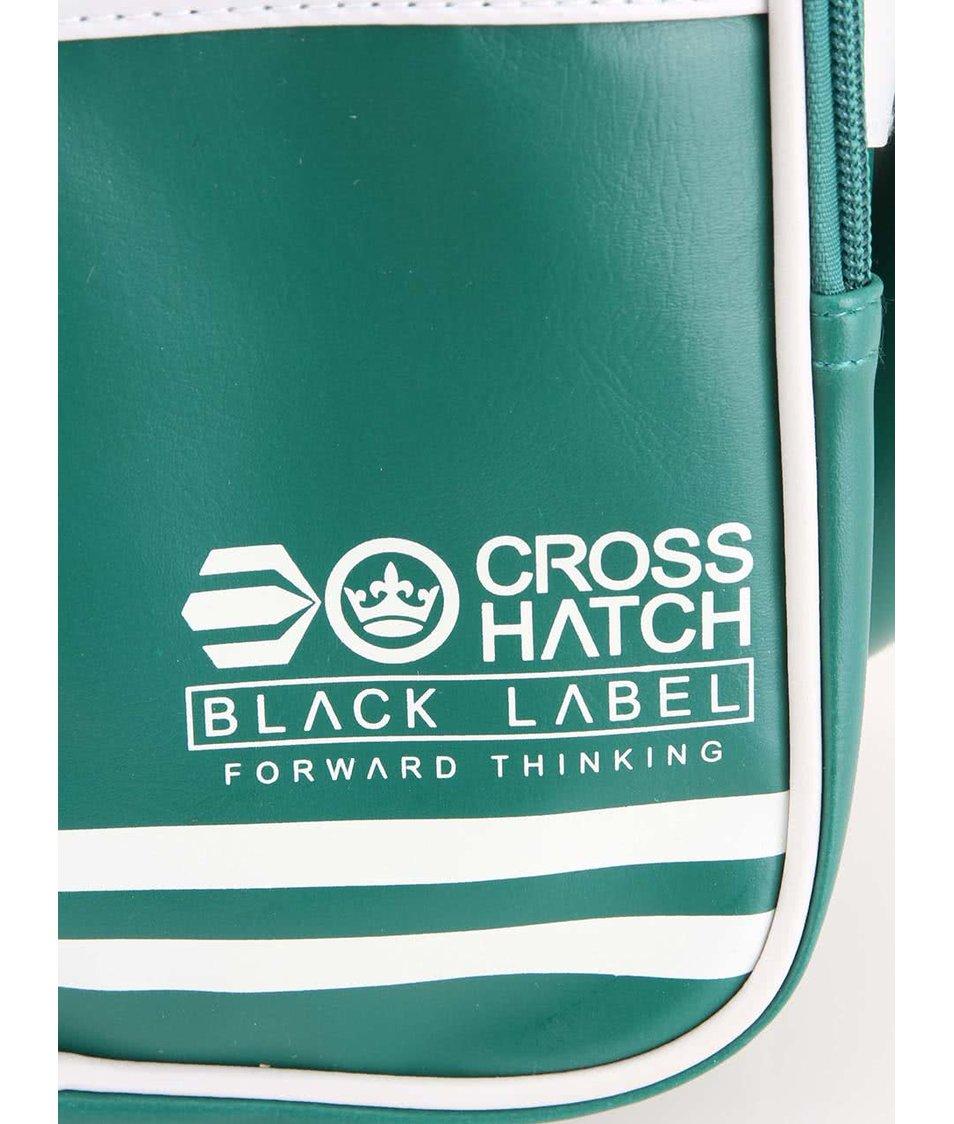 Zelená pánská taška s ozdobnými bílými pruhy Crosshatch Walbrook