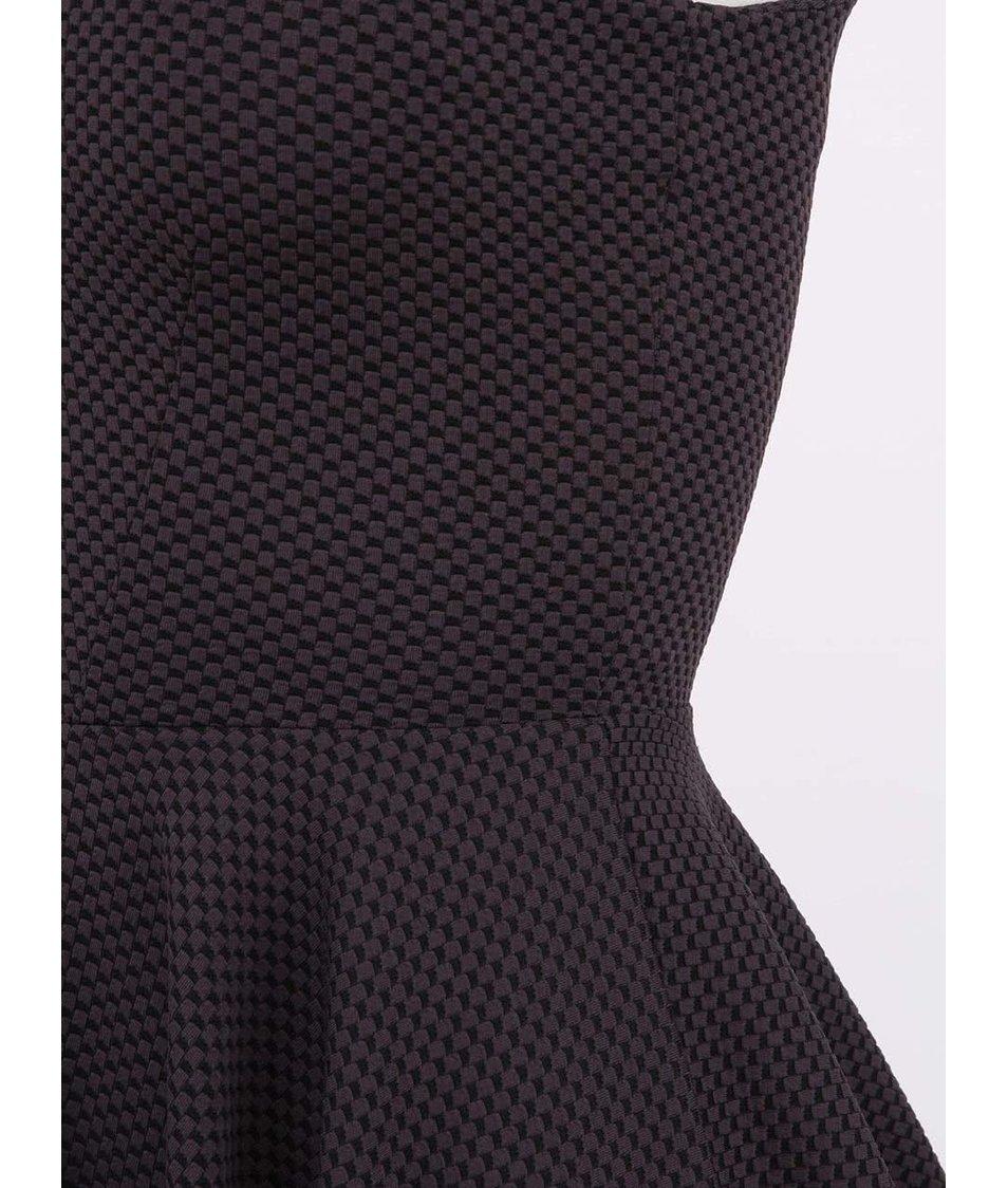 Černo-šedé šaty s nabíranou sukní Closet