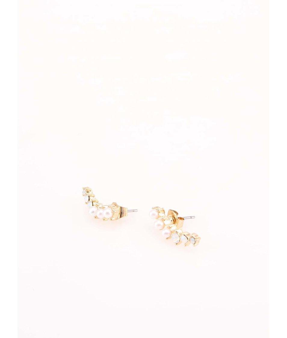 Náušnice ve zlaté barvě s perlami Pieces Ciaja
