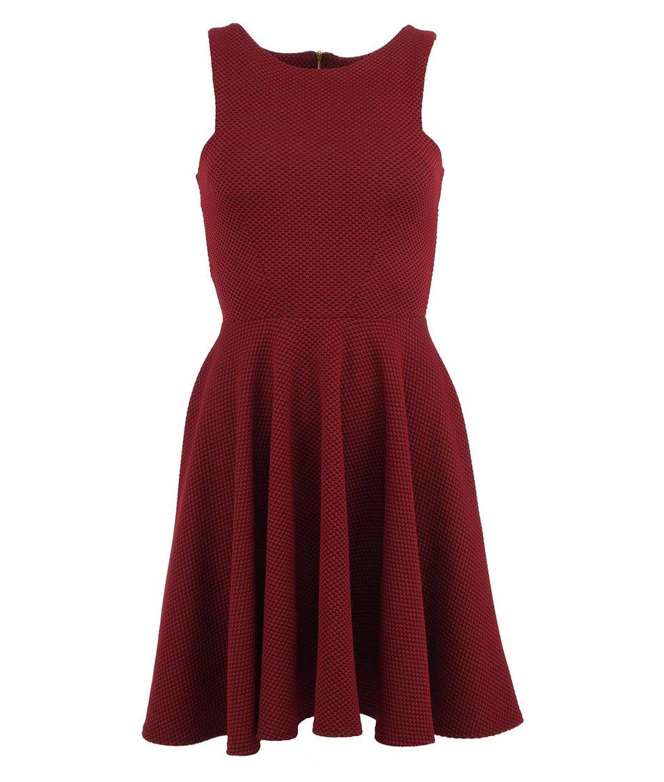 Černo-vínové šaty s nabíranou sukní Closet