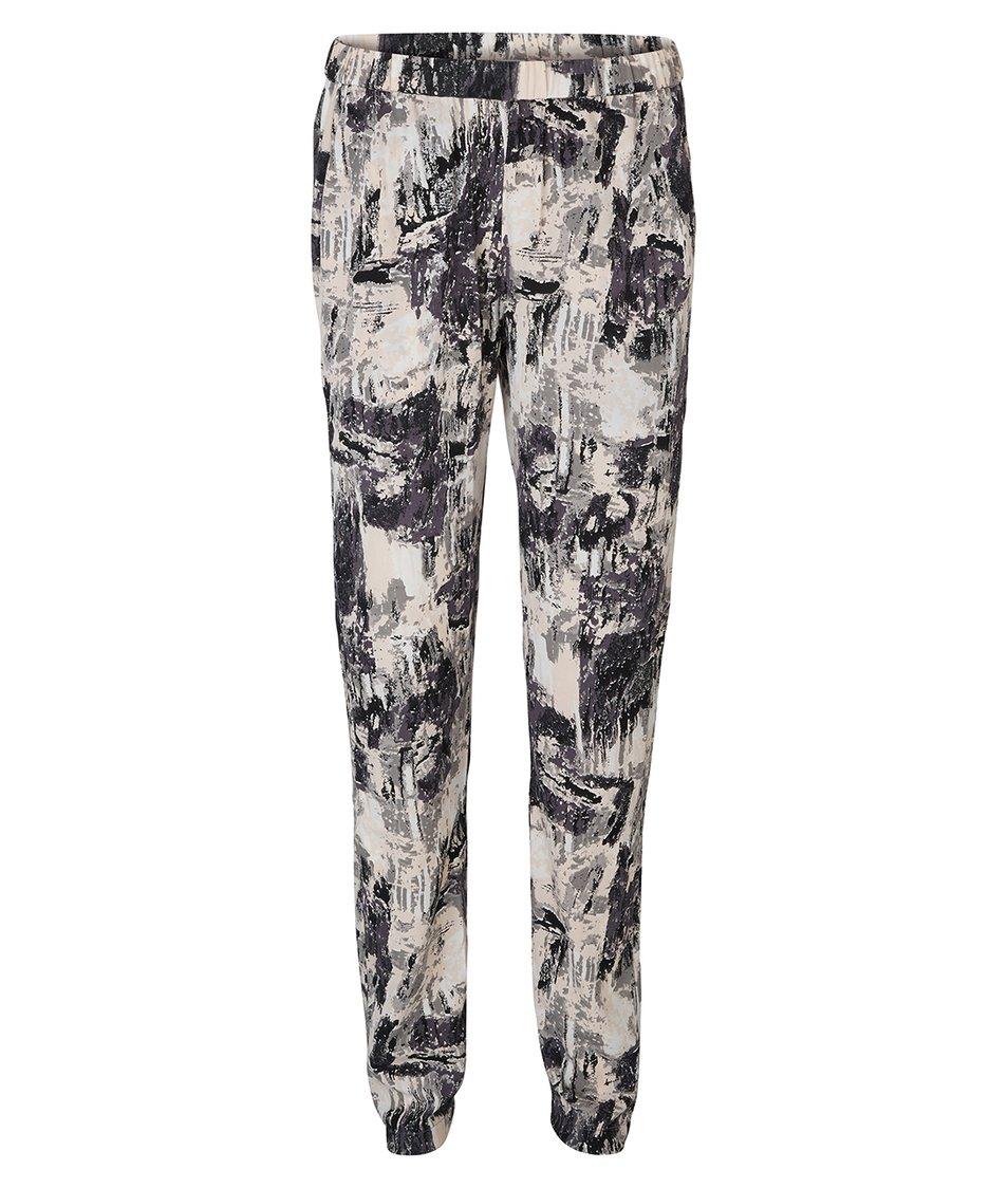 Béžové volné kalhoty s potiskem Vero Moda Christy