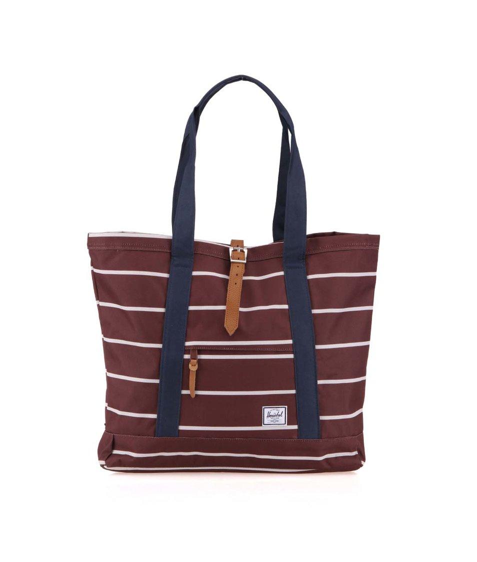 Bílo-hnědá pruhovaná nákupní taška Herschel Market XL
