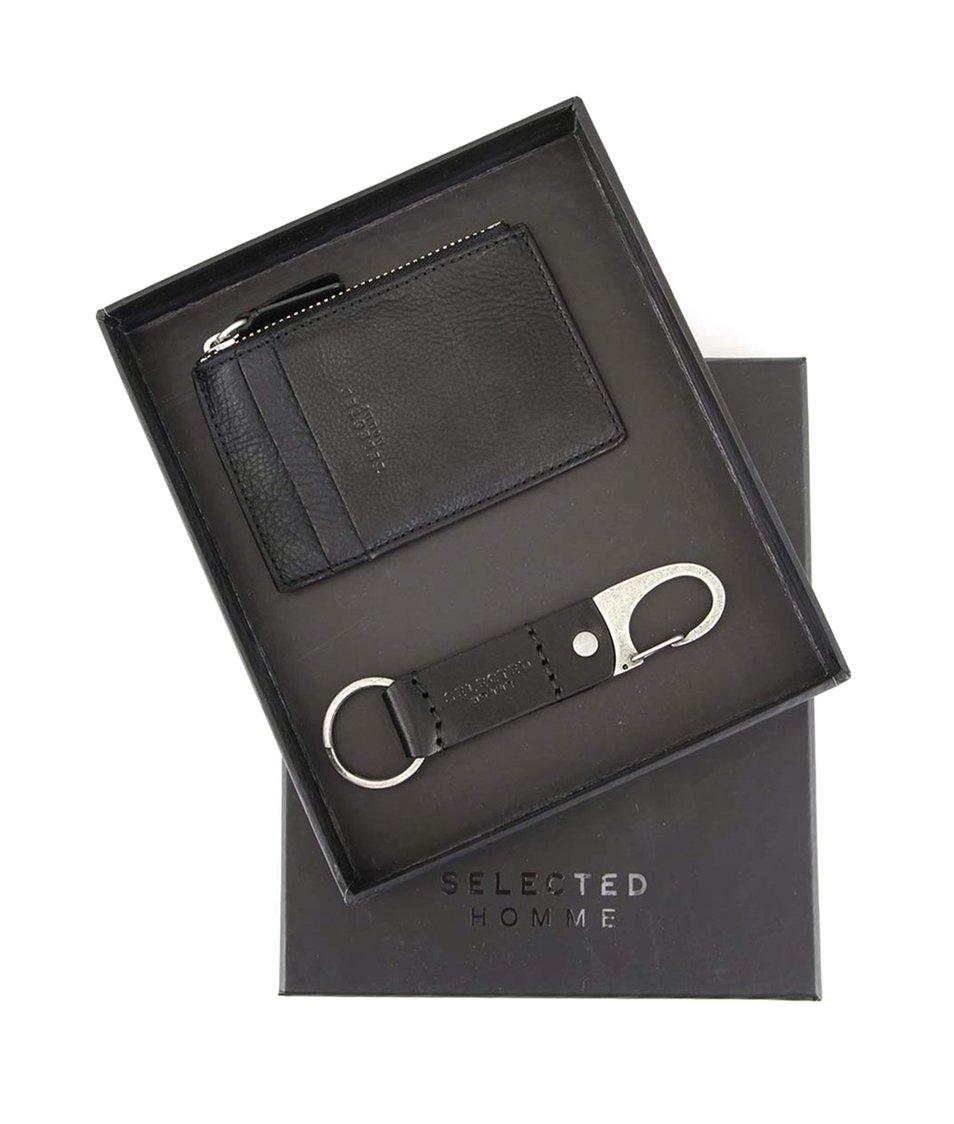 Černá kožená peněženka na drobné s klíčenkou Selected Peter
