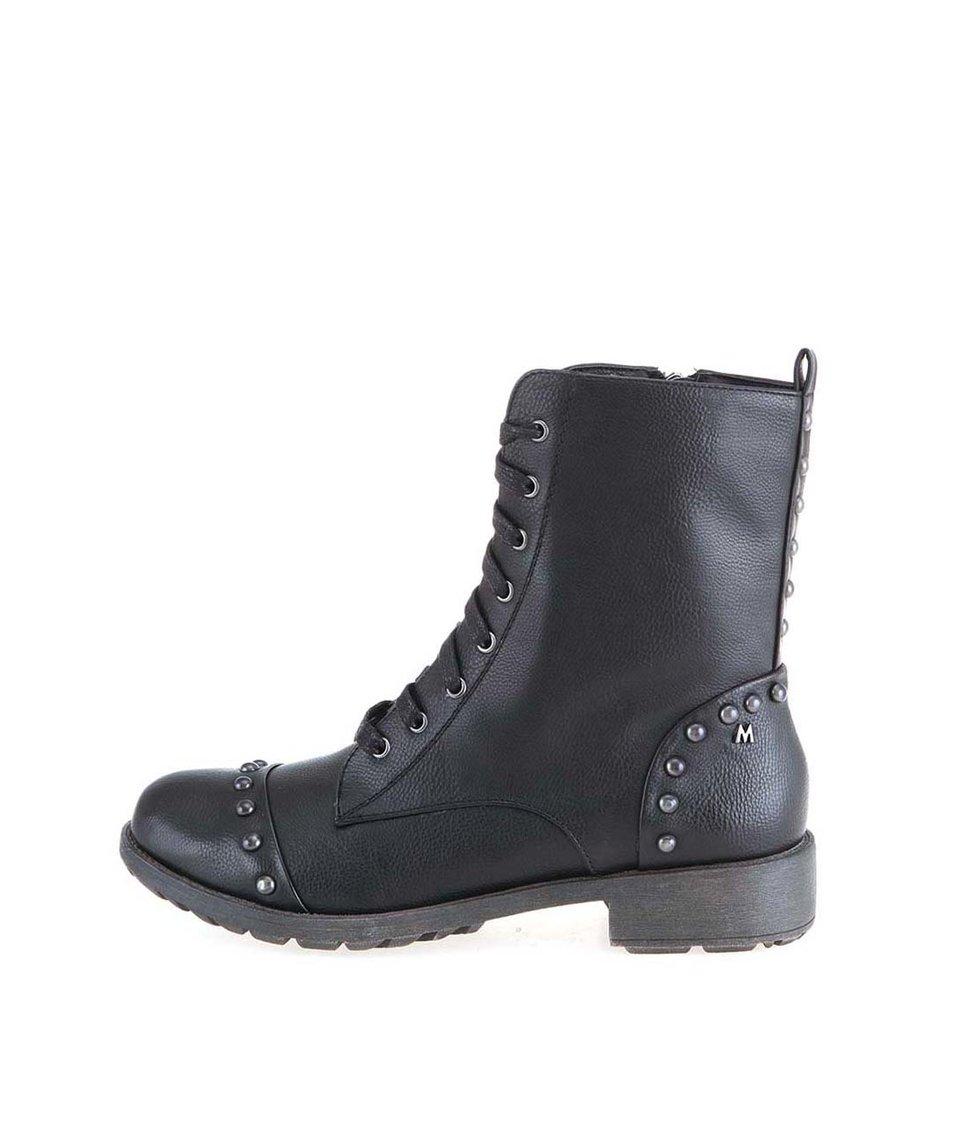 Černé vyšší šněrovací boty Mariamare