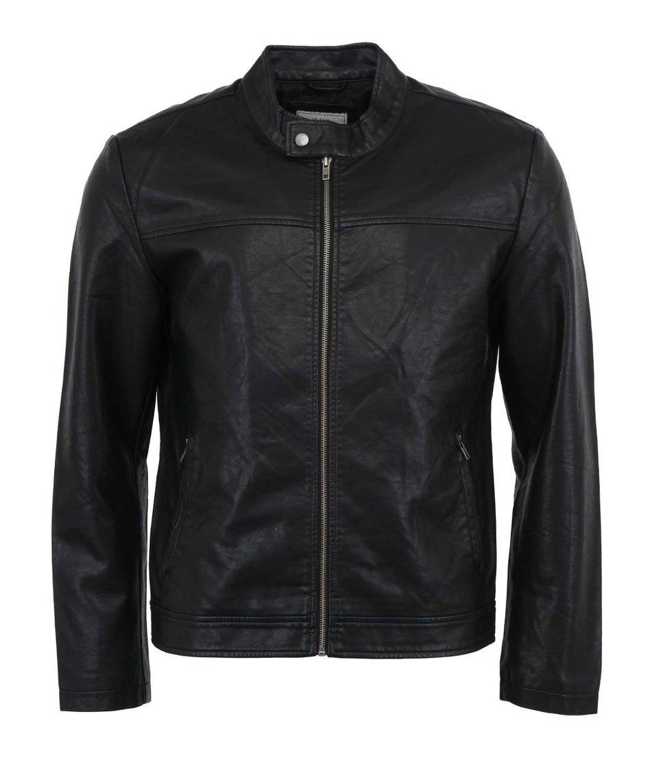 Černá pánská koženková biker bunda Only & Sons Abain