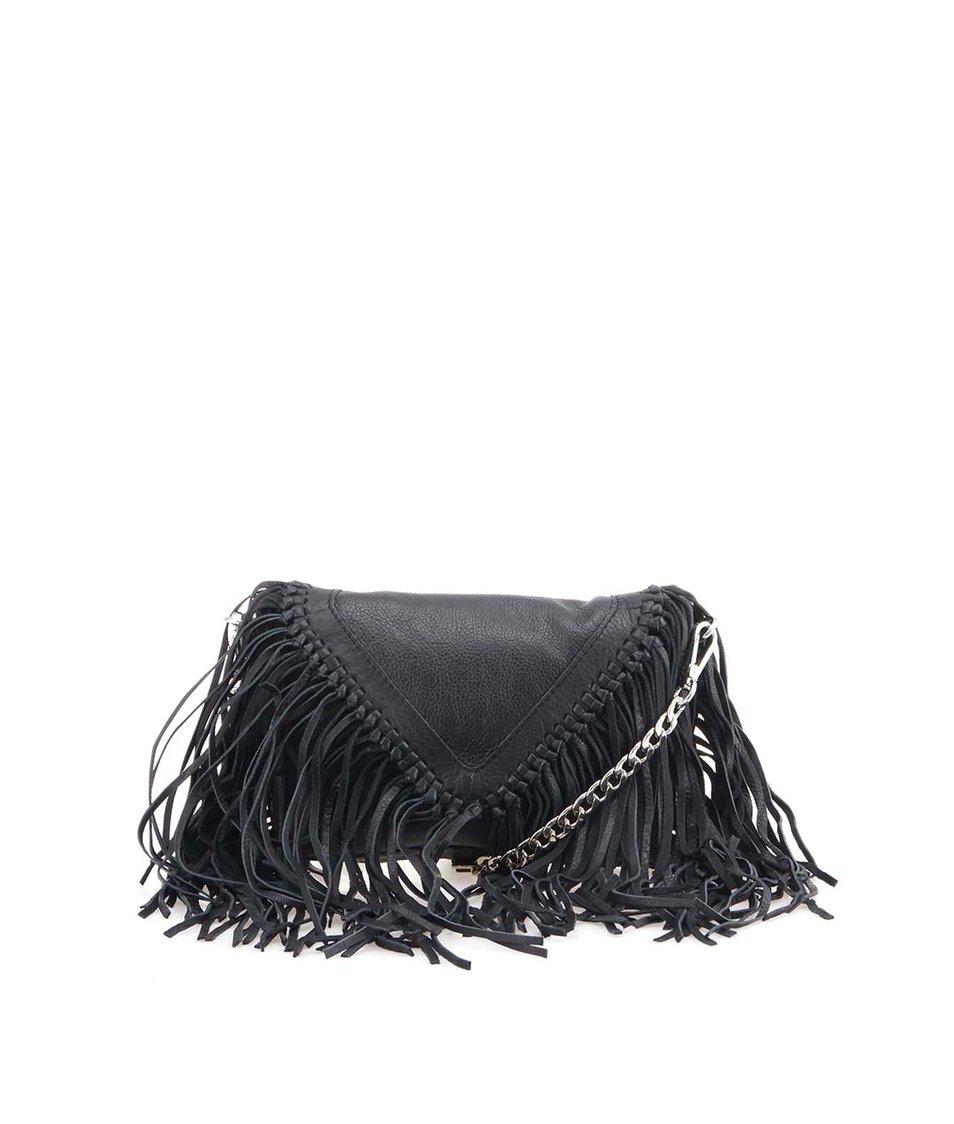 Černá kožená kabelka s třásněmi Pieces Anya