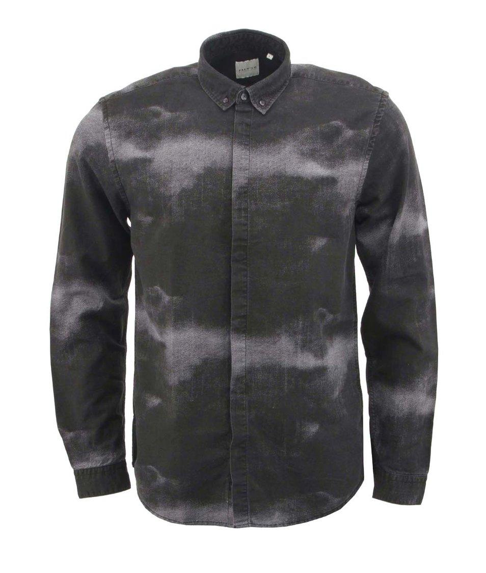 Černo-šedá košile s kouřovým potiskem Jack & Jones Sky