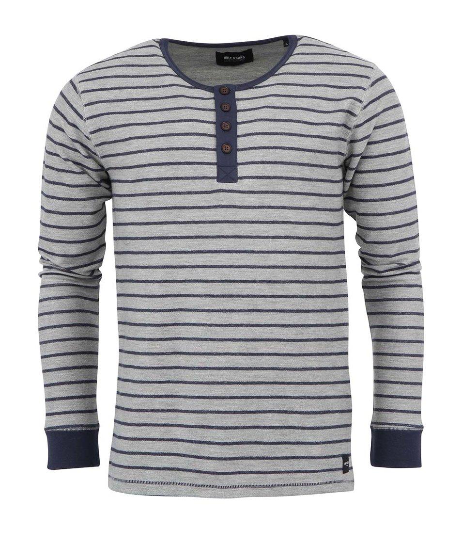Modro-šedé silnější triko s dlouhým rukávem ONLY & SONS River