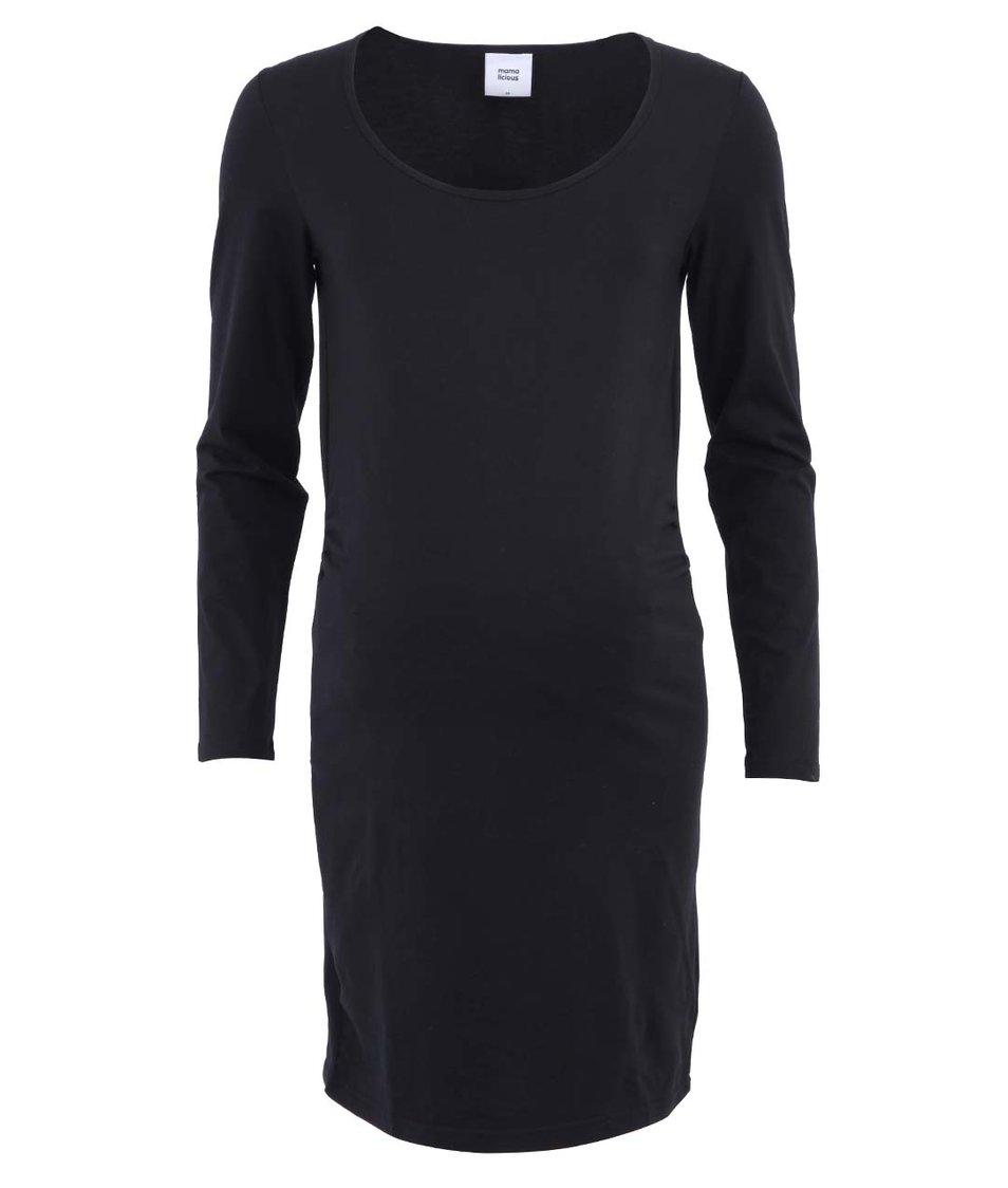 Černé těhotenské šaty s dlouhými rukávy Mama.licious Sofia