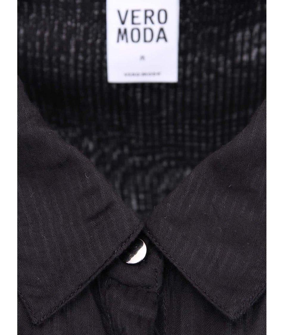 Černá delší košile s jemnými proužky Vero Moda Pin