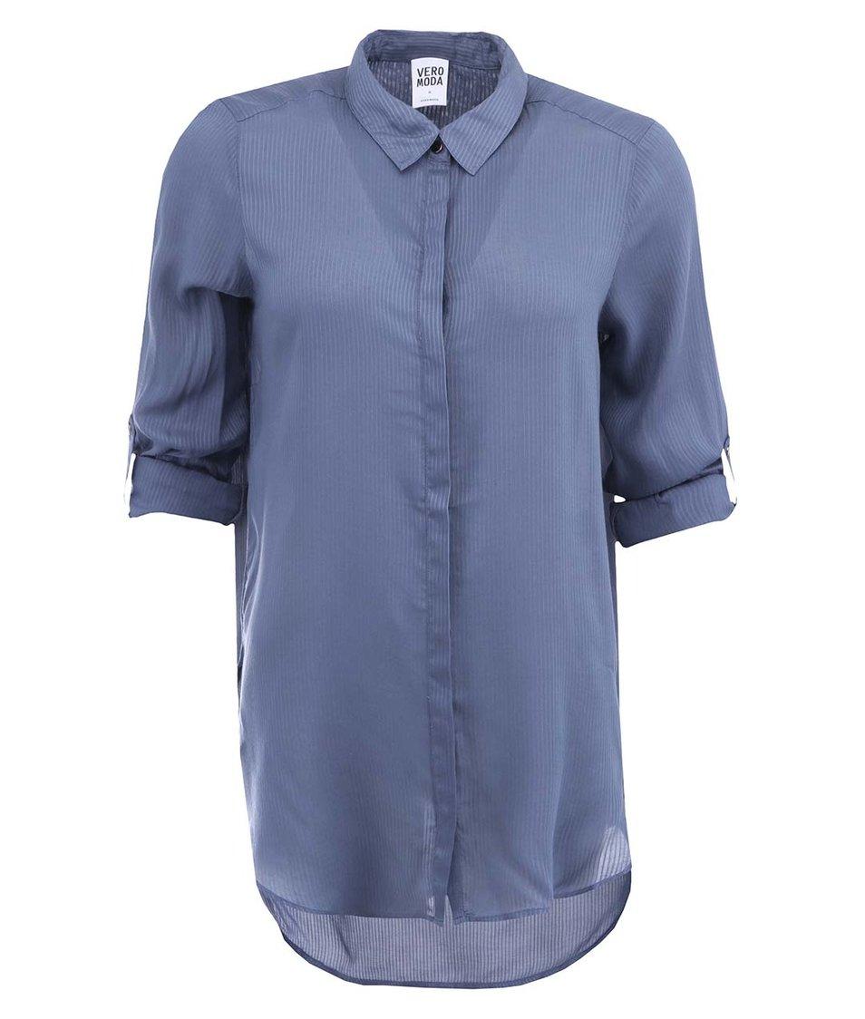 Modrá delší košile s jemnými proužky Vero Moda Pin