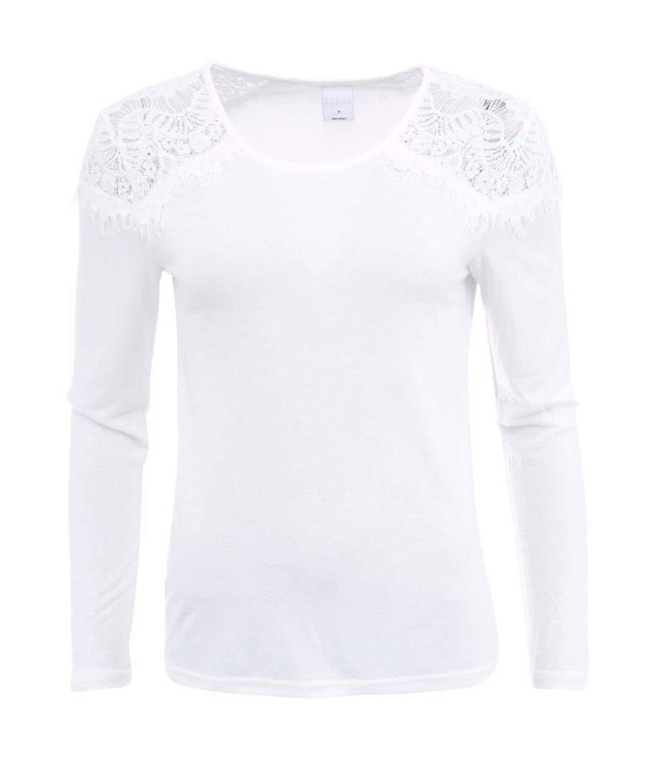 Bílý top s dlouhým rukávem a krajkovým detailem Vero Moda Insta